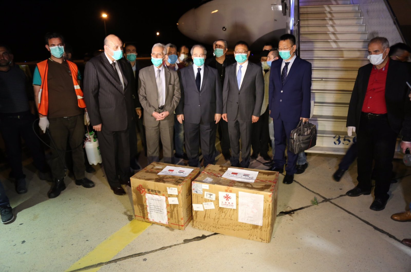 The two boxes of aid China delivered to the Assad regime amid full media coverage, Damascus, Syria, April 15, 2020.