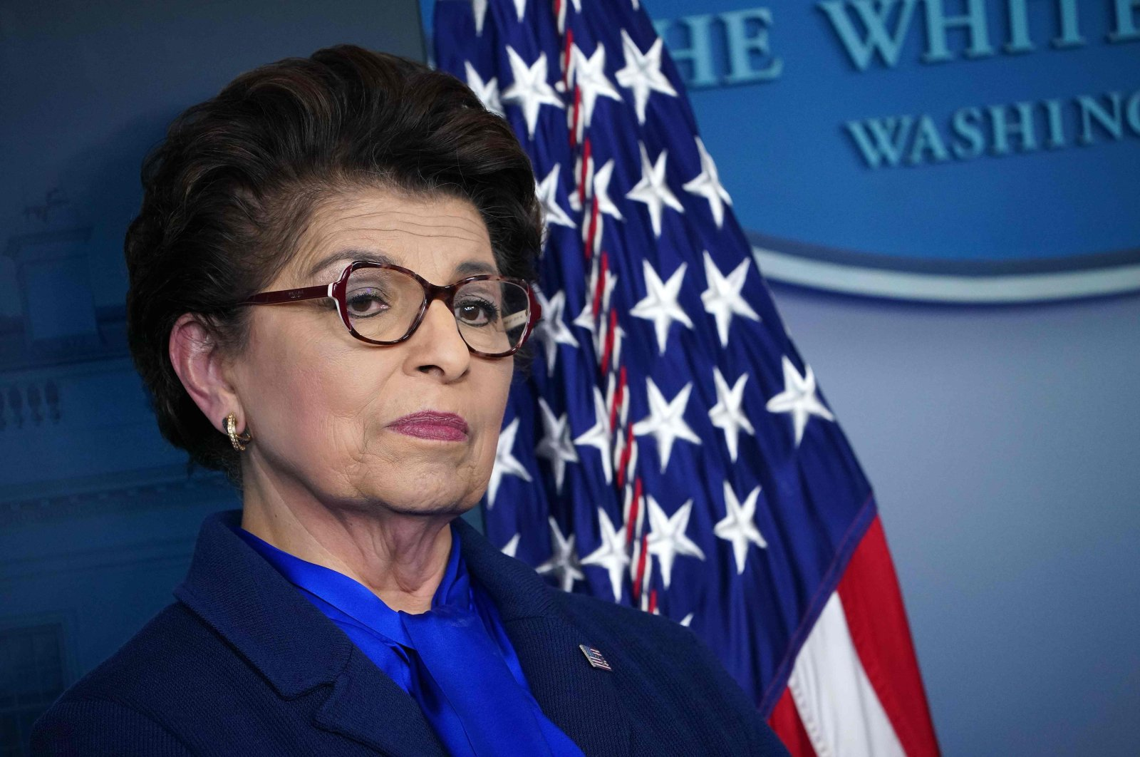 In this file photo taken on April 02, 2020, the Administrator of the Small Business Administration Jovita Carranza attends the daily briefing on the novel coronavirus in the Brady Briefing Room at the White House in Washington, DC. (AFP Photo)
