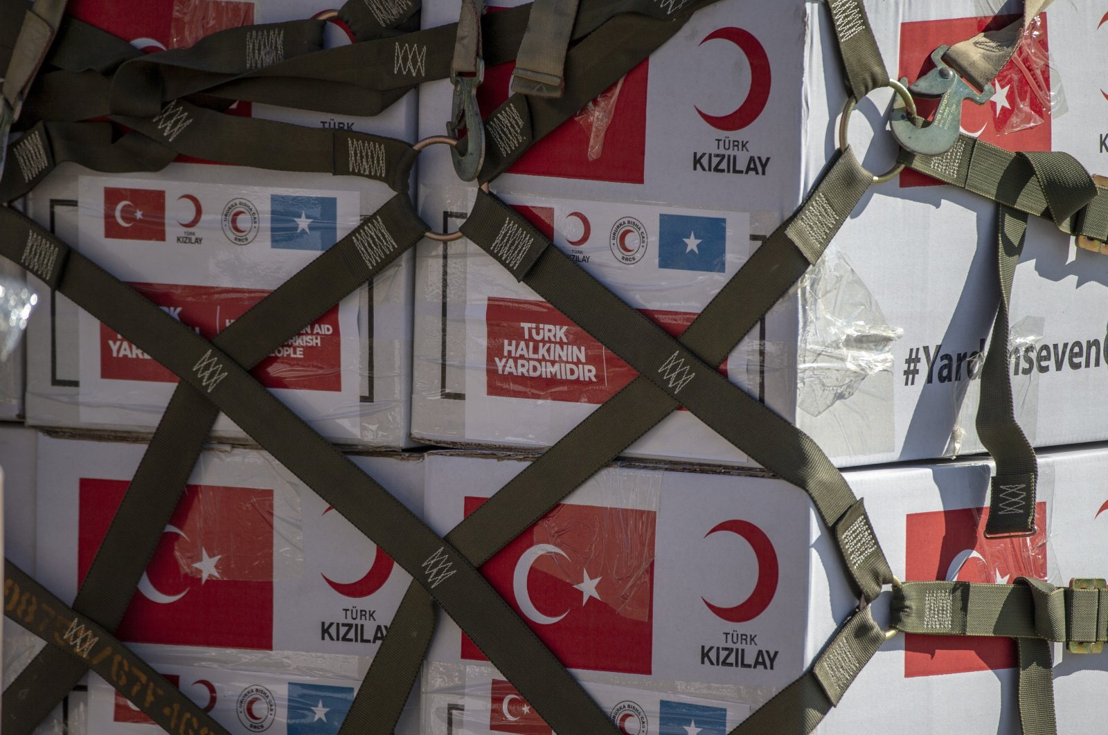A delivery of medical equipment was made to Somalia on Friday as a military cargo plane headed to Mogadishu from Ankara, Friday, April 17, 2020. (AA)