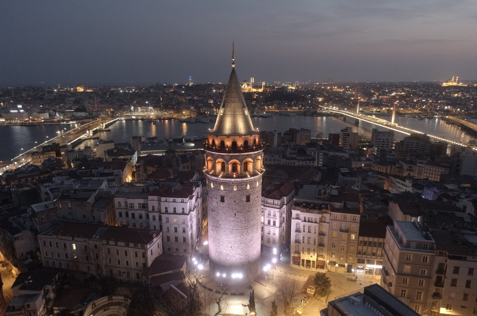 An aerial view of Istanbul's iconic Galata Tower in Istanbul, Turkey. (AA Photo)