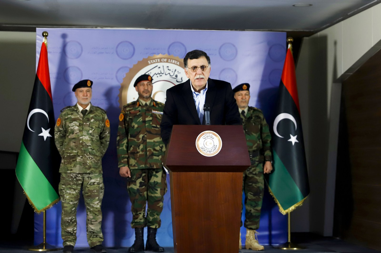 Fayez al-Sarraj, Prime Minister of Libya's U.N.-recognized Government of National Accord (GNA), speaks during a press conference in the capital Tripoli on April 13, 2020. (AFP Photo)