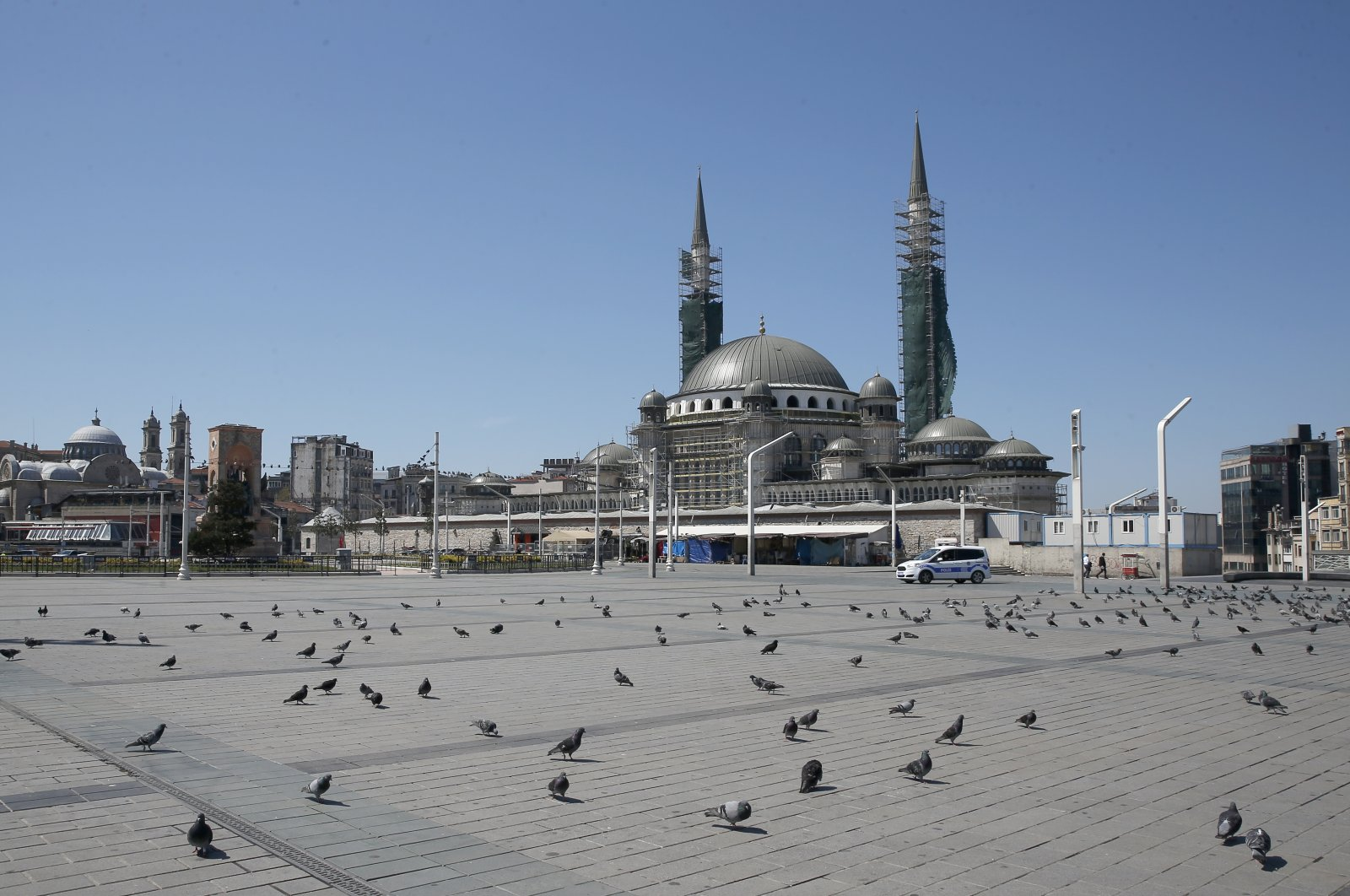 A deserted Taksim Square, one of the city's landmarks, in Istanbul, Turkey, April 18, 2020. (AP Photo)