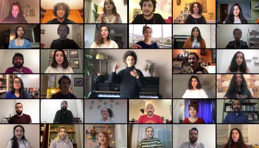 Chromas choir performs Gemiler Giresun, a Turkish folksong, virtually via their Instagram account, March 28, 2020.