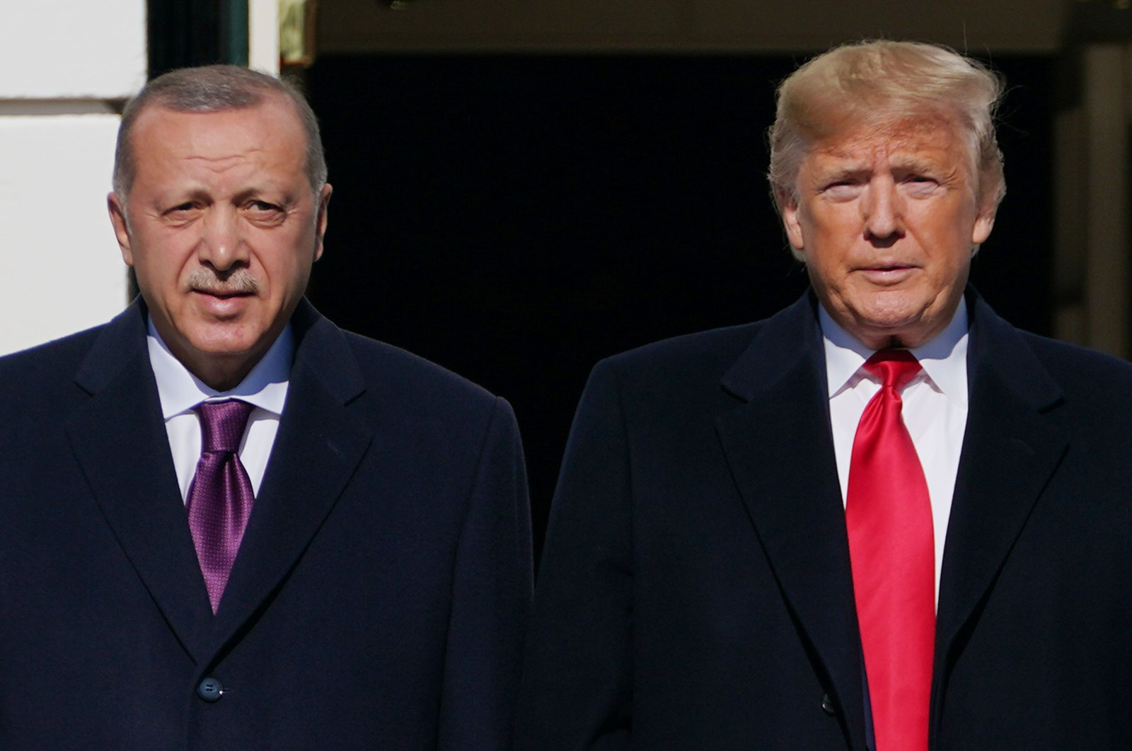 President Recep Tayyip Erdoğan is greeted by U.S. President Donald Trump upon arrival outside the White House in Washington, D.C., U.S., Nov. 13, 2019. (AFP Photo)