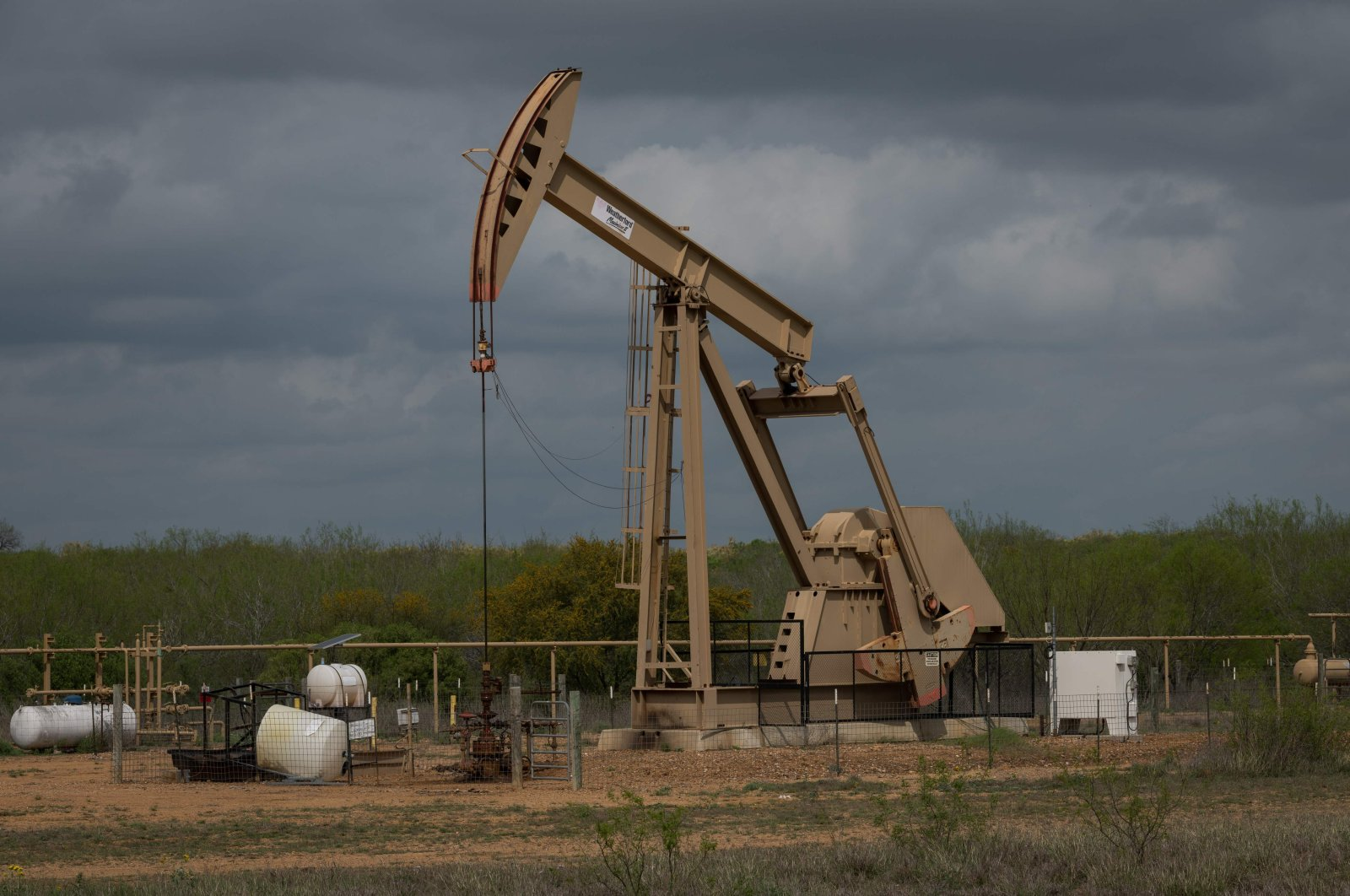 A pump jack operates at an oil extraction site in Cotulla, Texas, U.S., March 12, 2019. (AFP Photo)