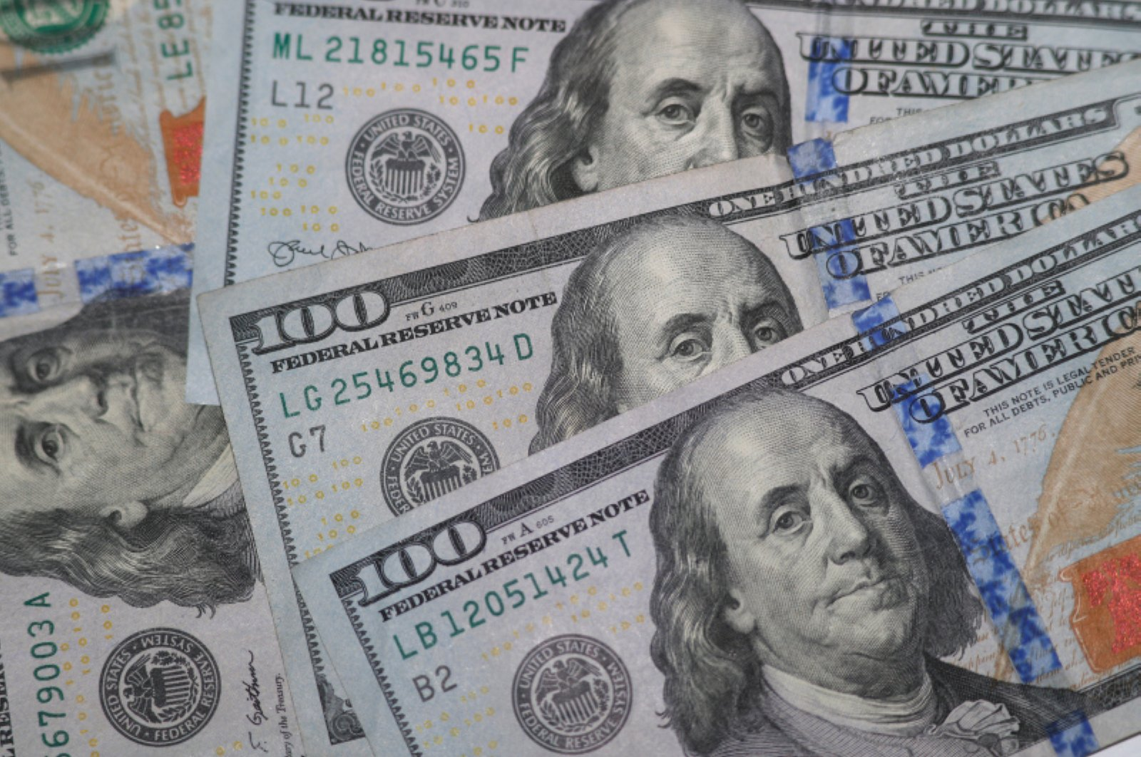 This Jan. 22, 2020, file photo shows the likeness of Benjamin Franklin on $100 bills in Dallas. (AP Photo)