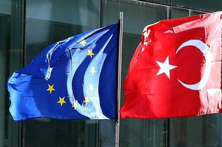 The European Union and Turkish flags seen in a file photo from May, 6, 2018.