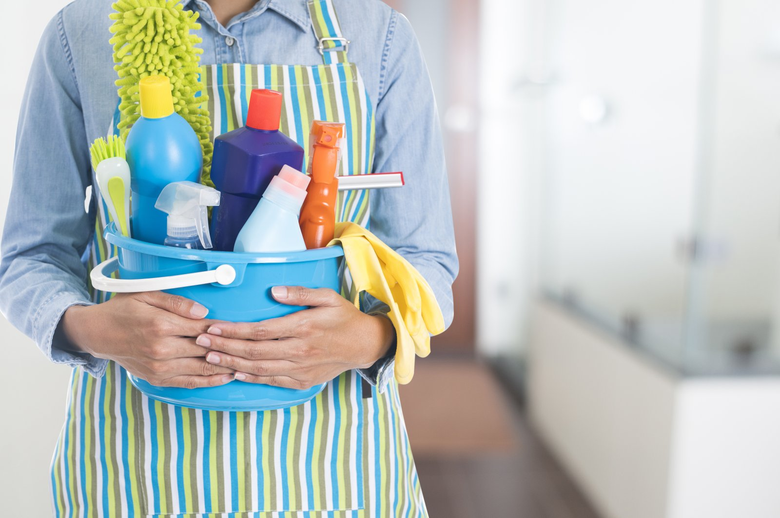 Cleaning materials with chlorine-free hydrogen peroxide are sufficient to clean the floors and walls. (Shutterstock Photo)