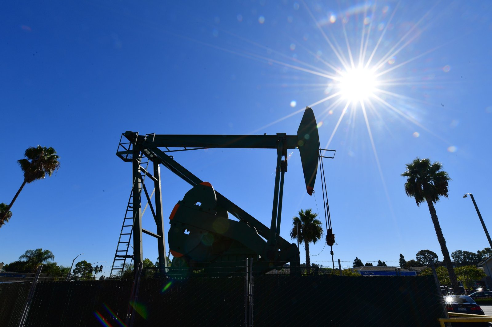 A pumpjack from California-based energy company Signal Hill Petroleum is seen in Signal Hill, California, Oct. 21, 2019. (AFP Photo)