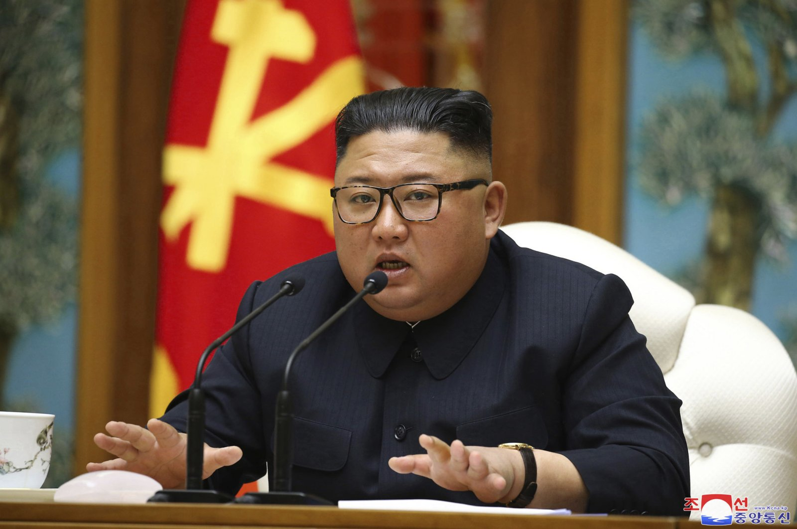 In this Saturday, April 11, 2020, file photo provided by the North Korean government, North Korean leader Kim Jong Un attends a politburo meeting of the ruling Workers' Party of Korea in Pyongyang. (Korean Central News Agency/Korea News Service via AP)