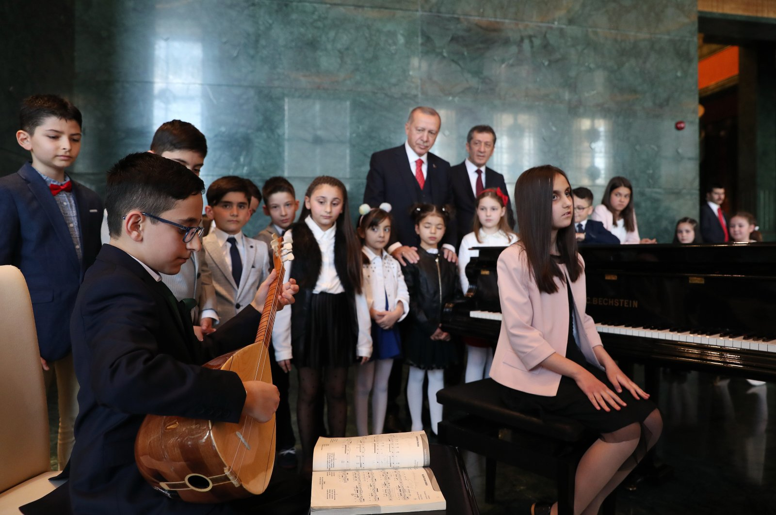 President Recep Tayyip Erdoğan hosts children in presidential complex for Children's Day, Ankara, April 23, 2019. (AA)