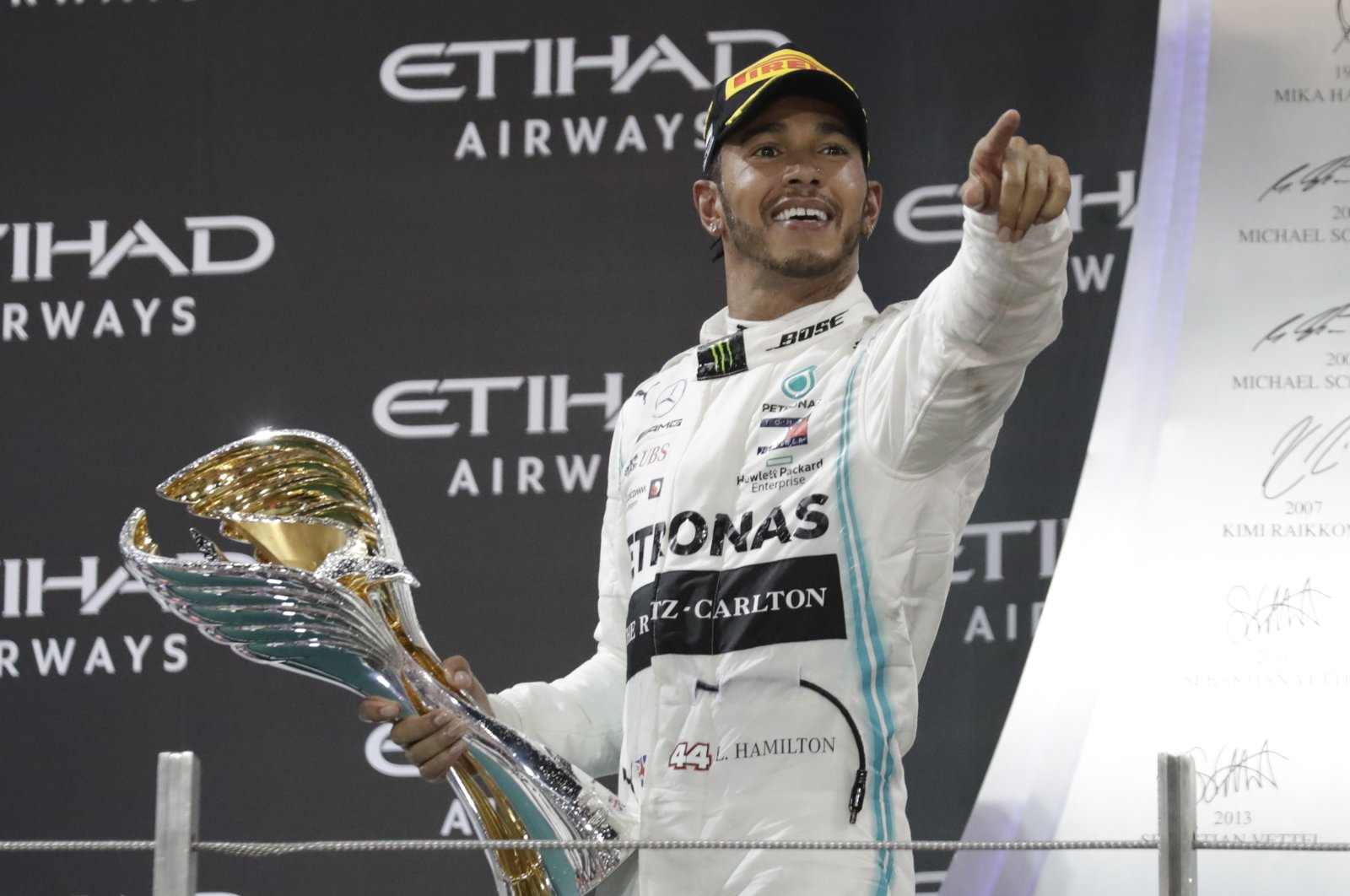 Lewis Hamilton celebrates after winning the Emirates F1 GP in Abu Dhabi, UAE, Dec.1, 2019. (AP Photo)