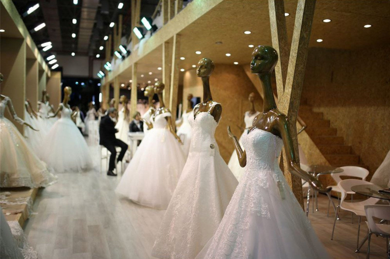 Wedding dresses are displayed at the IF Wedding Fashion Expo in İzmir, Turkey, on Jan. 26, 2019. (IHA Photo)