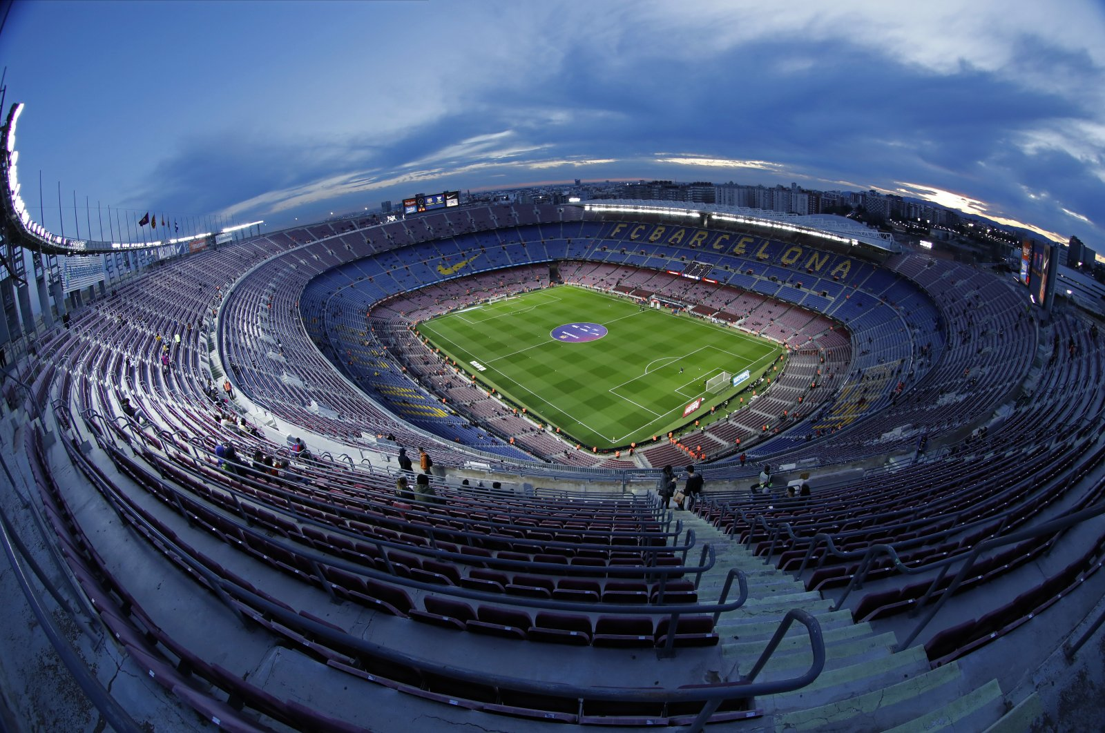 A general view of the Camp Nou stadium prior of a Spanish Copa del Rey football match between Barcelona and Leganes at the Camp Nou stadium in Barcelona, Spain, Jan. 30, 2020. (AP Photo)