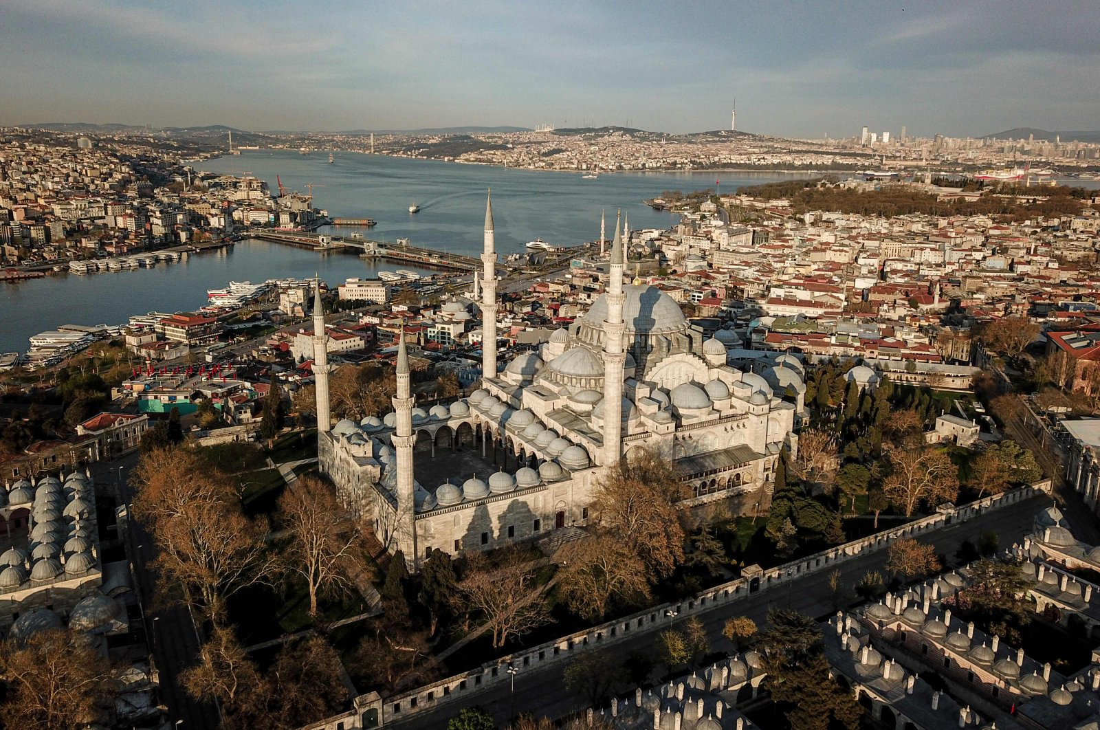 An aerial photo shows a general view of the Süleymaniye Mosque and the Bosporus, Istanbul, Turkey, April 19, 2020. (AFP Photo)