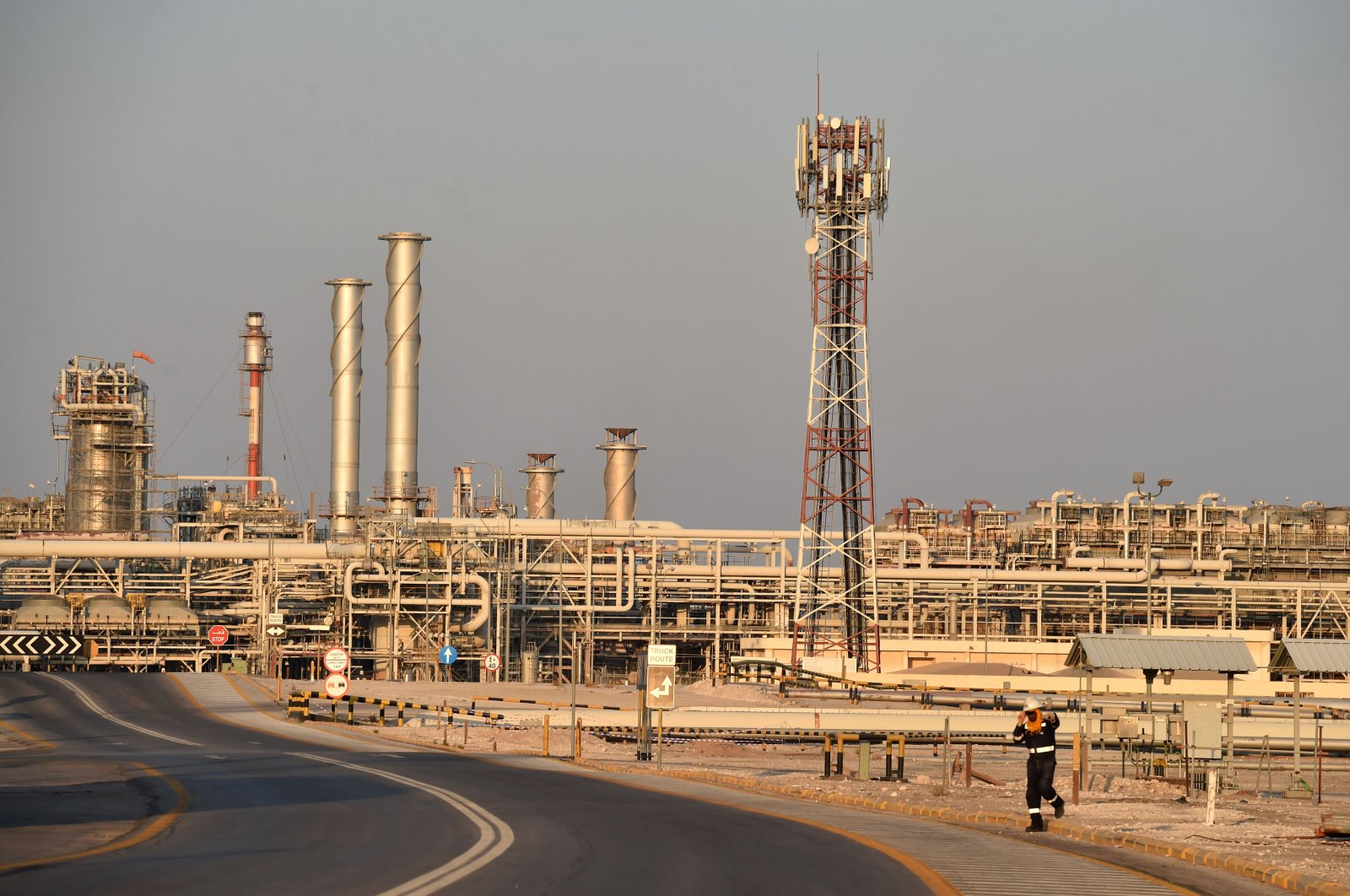 This file photo taken on September 20, 2019 shows a general view of Saudi Aramco's Abqaiq oil processing plant. (AFP Photo)