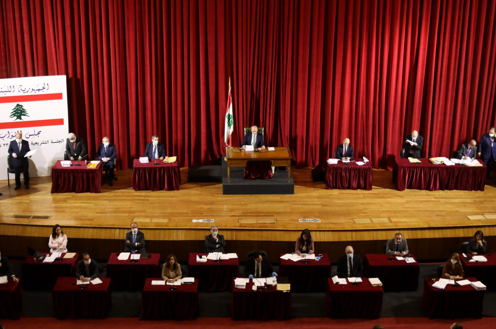 Lebanese parliament holds a meeting at the Unesco Palace in the capital Beirut as part of measures to halt the spread of the novel coronavirus, on April 21, 2020. (AFP Photo)