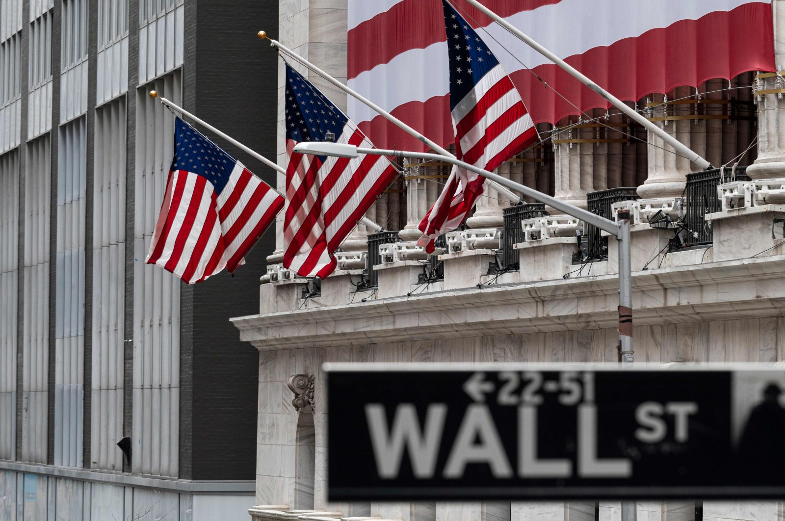 The New York Stock Exchange (NYSE) is pictured on April 20, 2020 at Wall Street in New York City. (AFP Photo)