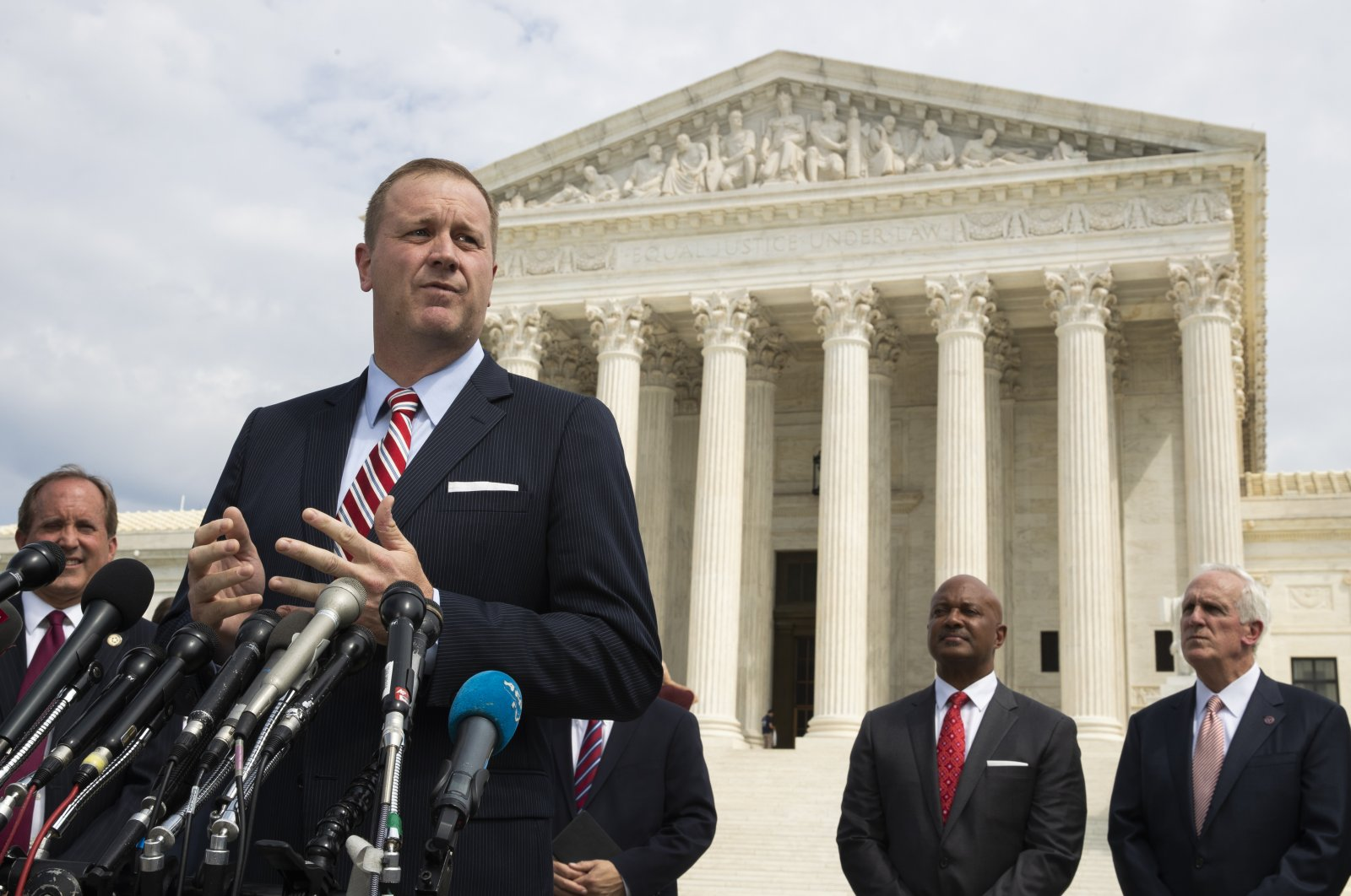 Missouri Attorney General Eric Schmitt speaks in front of the U.S. Supreme Court in Washington D.C., U.S., Sept. 9, 2019. (AP Photo)