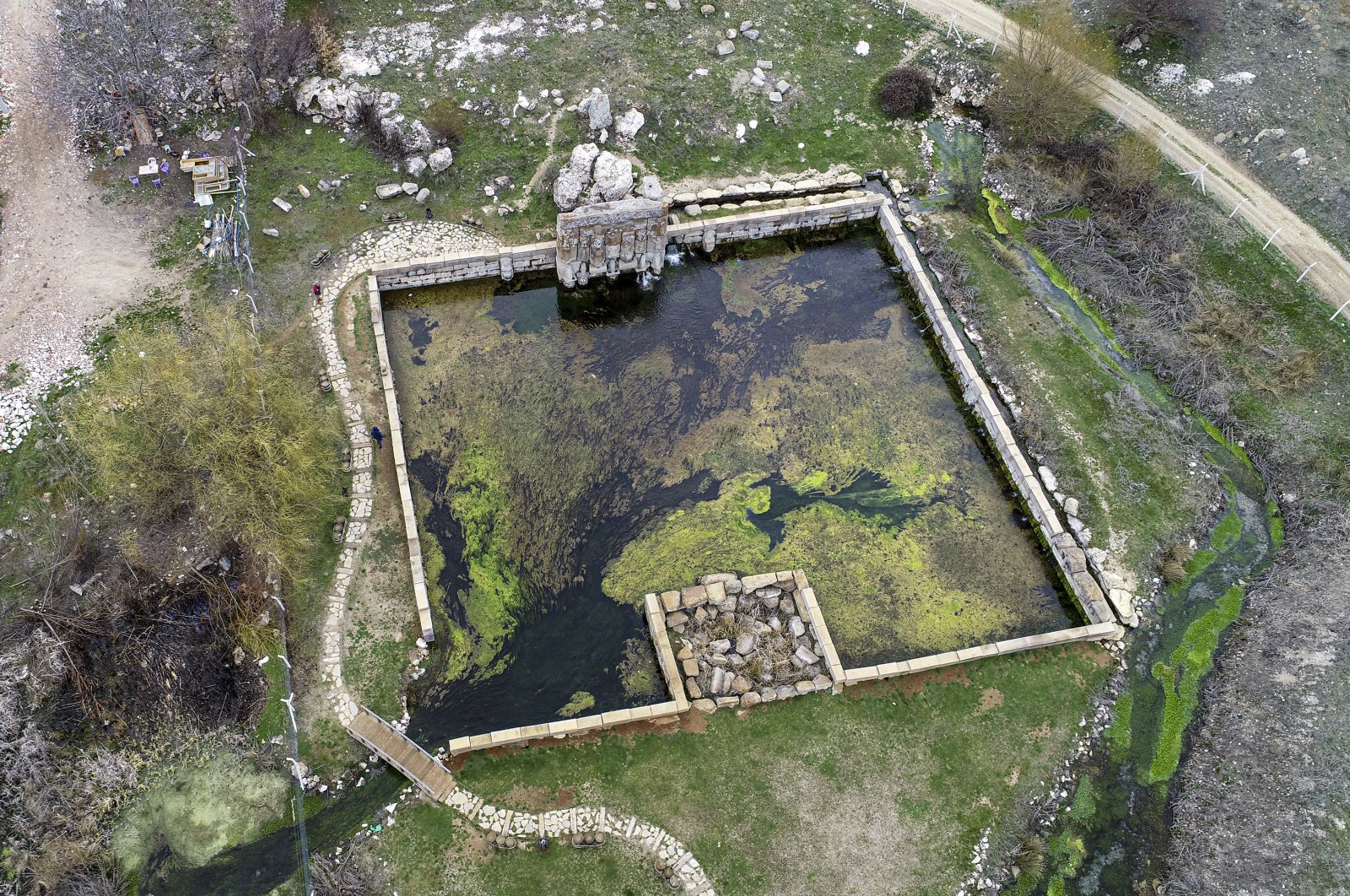 An aerial view from Eflatunpınar Hittite spring sanctuary. (AA Photo)