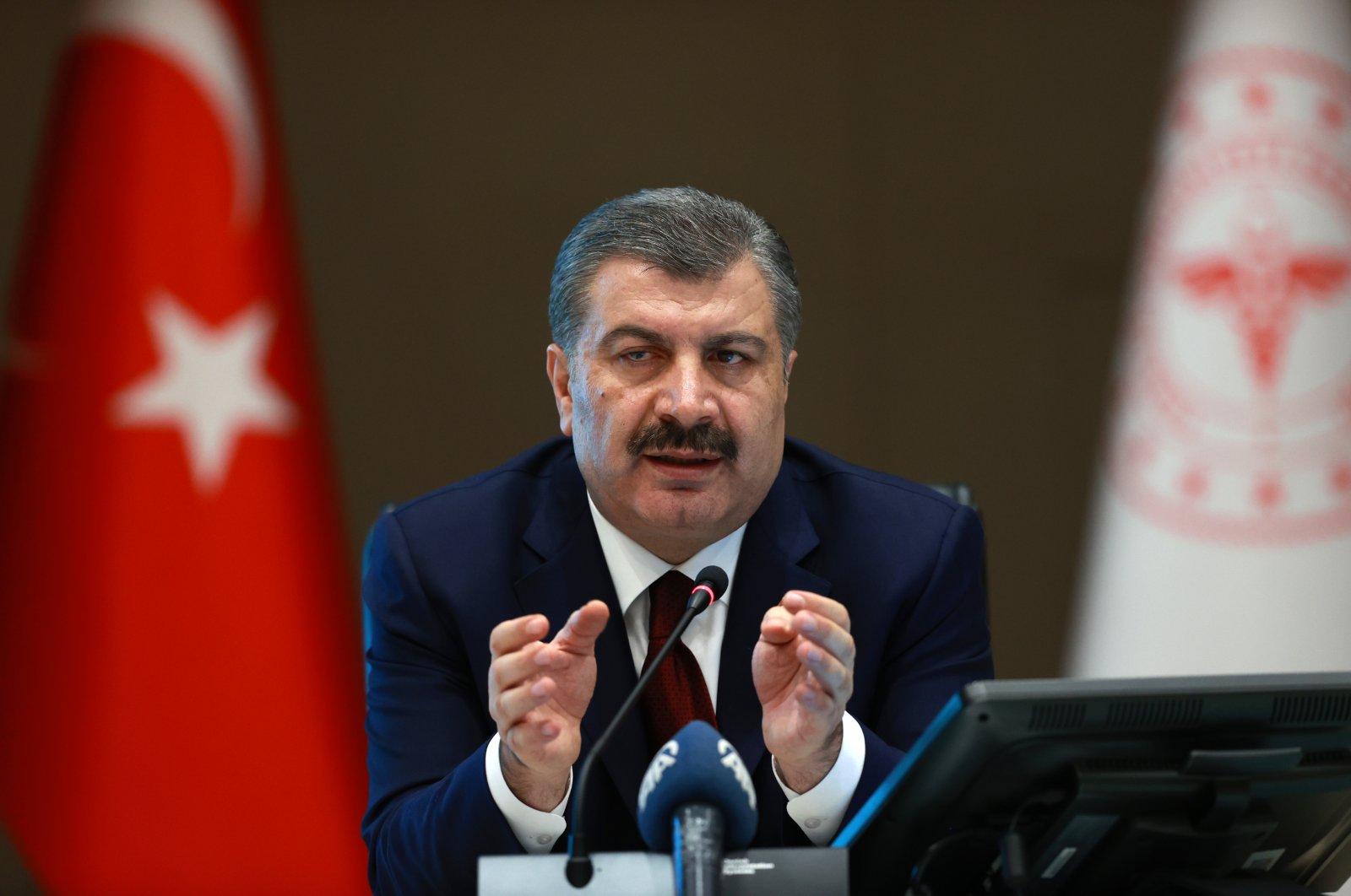 Health Minister Fahrettin Koca speaks at a press conference in Ankara, April 22, 2020 (AA Photo)