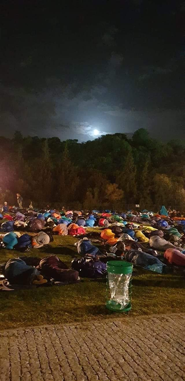 Aussies and Kiwis sleep outside before the Dawn Service during a previous year.