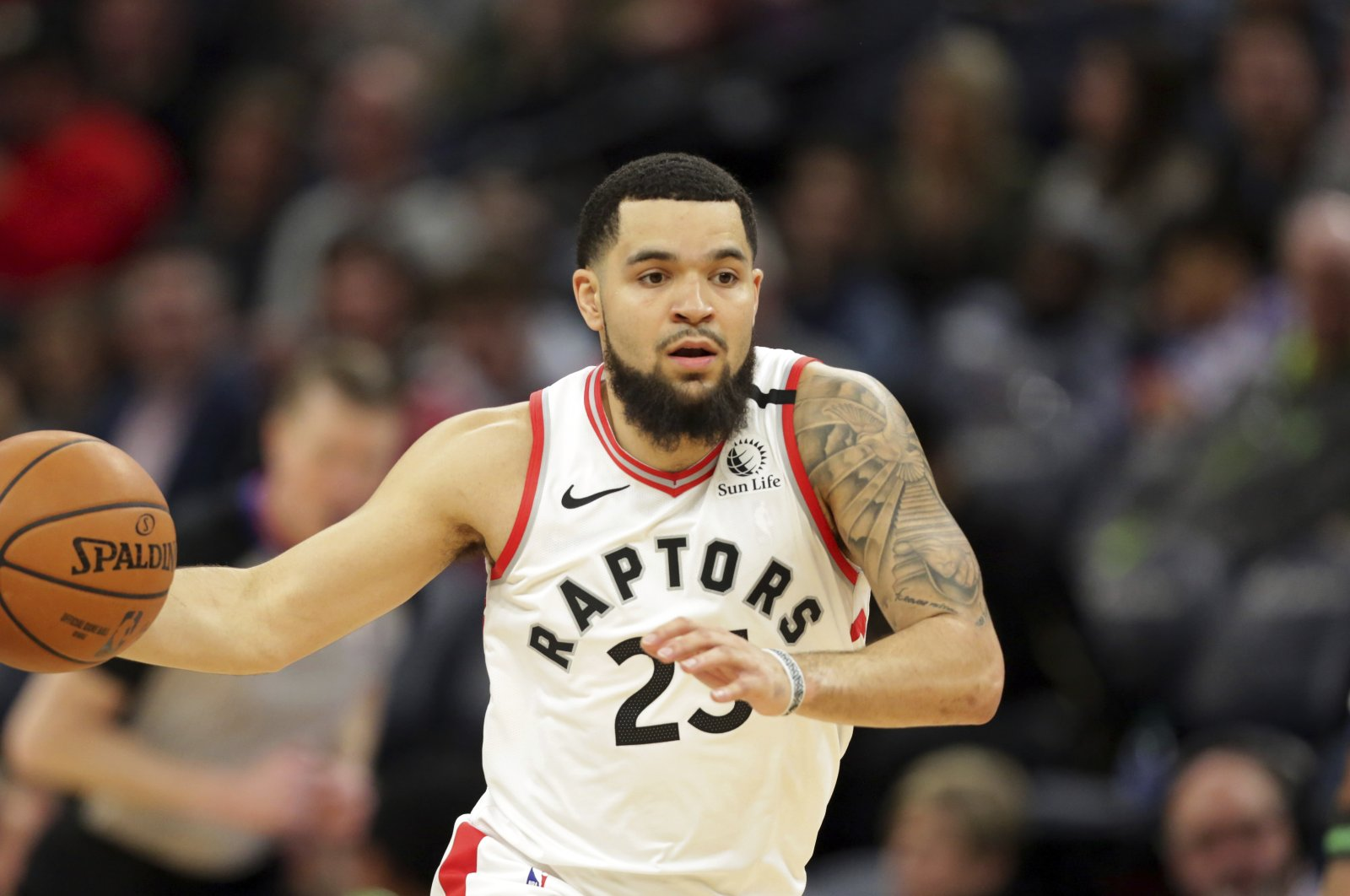 Fred VanVleet plays during an NBA game in Minneapolis, Minnesota, Jan. 18, 2020. (AP Photo)