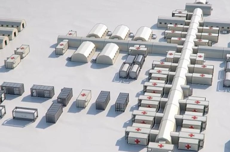 This undated photo shows a model of a field hospital designed by Turkey's SDI Global LLC, which won a $14 million tender to build a hospital for COVID-19 patients in Romania. (AA Photo)