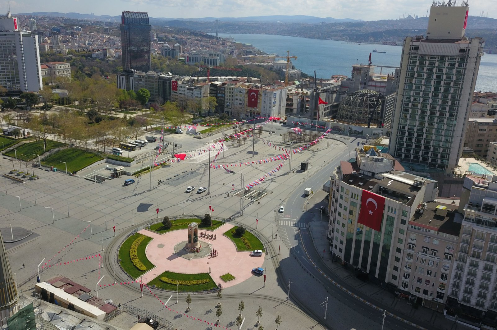 Istanbul's famous Taksim square with decorations to celebrate the National Sovereignty and Children's Day, April 23, 2020. (DHA Photo)