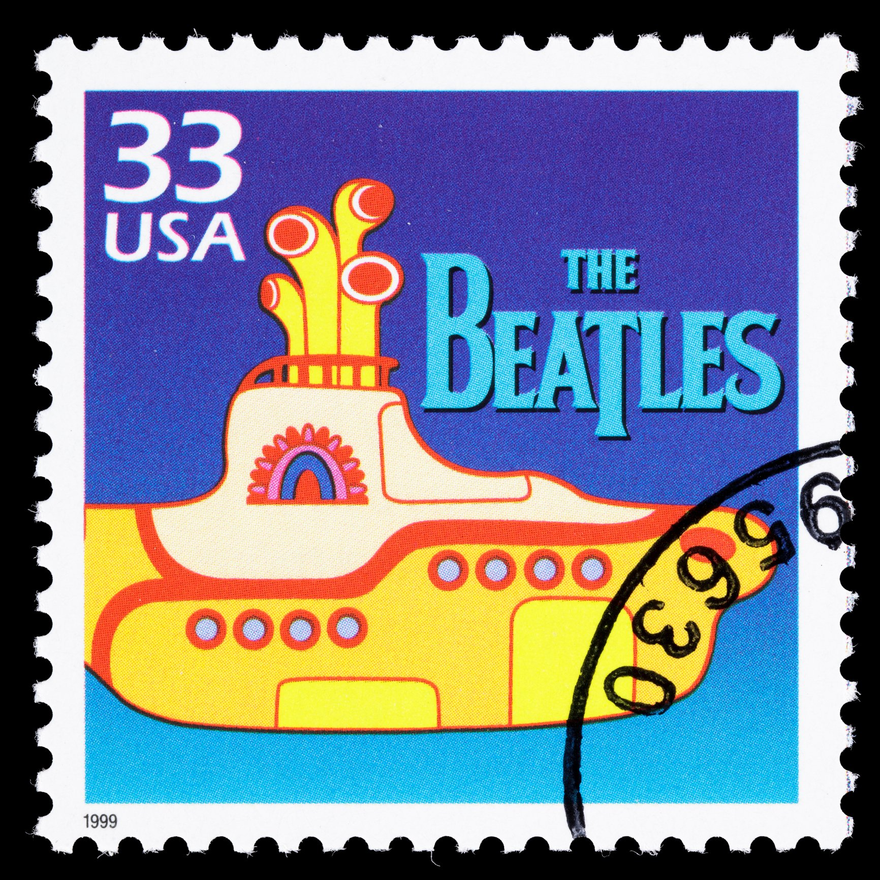 A 1999 U.S. postage stamp with an illustration of the
