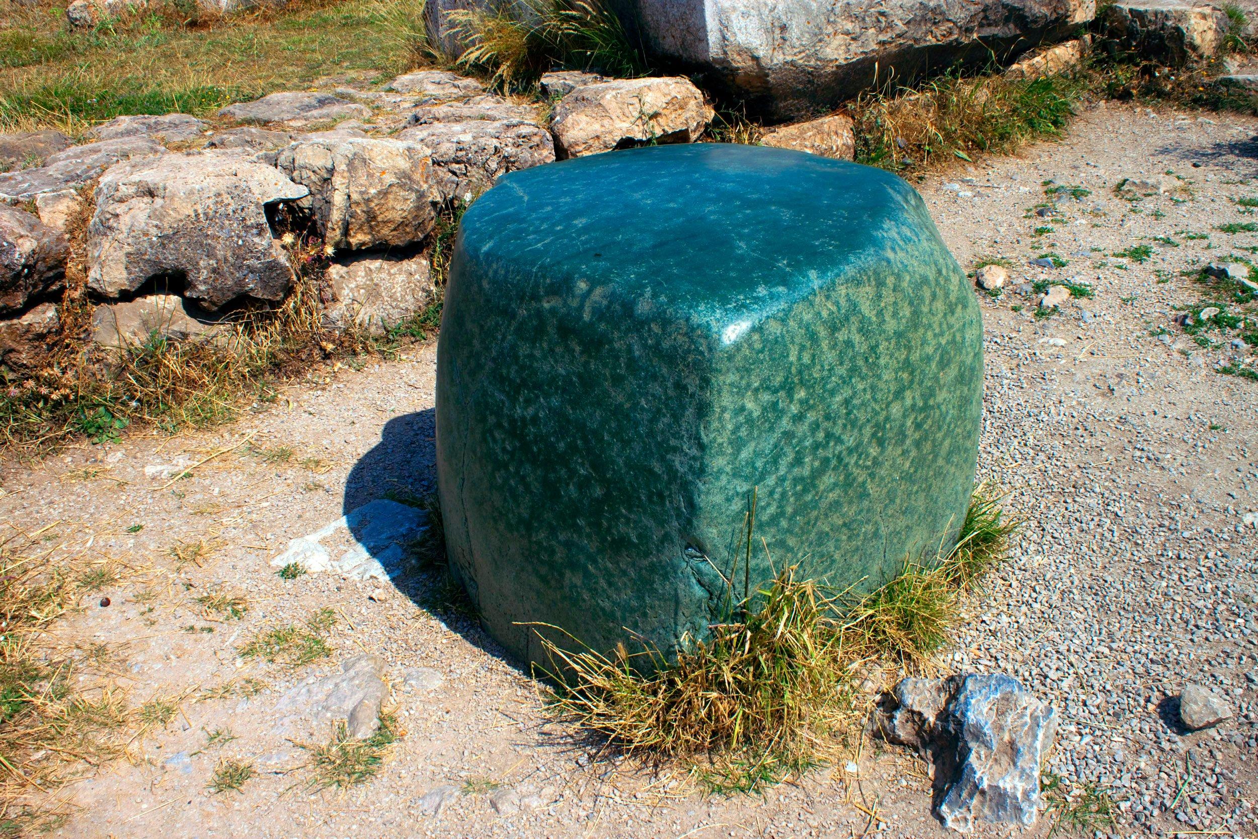 Une étrange pierre verte se trouve dans l'une des chambres latérales du complexe du Grand Temple.  (Photo iStock)