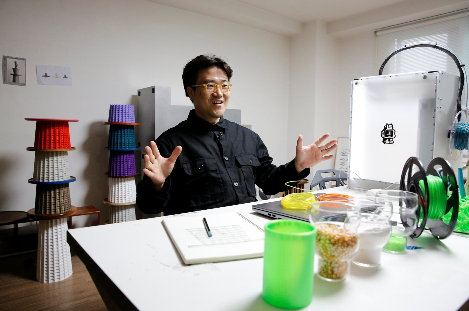 South Korean designer Ryu Jong-dae speaks to Reuters during an interview in his art studio in Seoul, South Korea, April 17, 2020. (Reuters Photo)