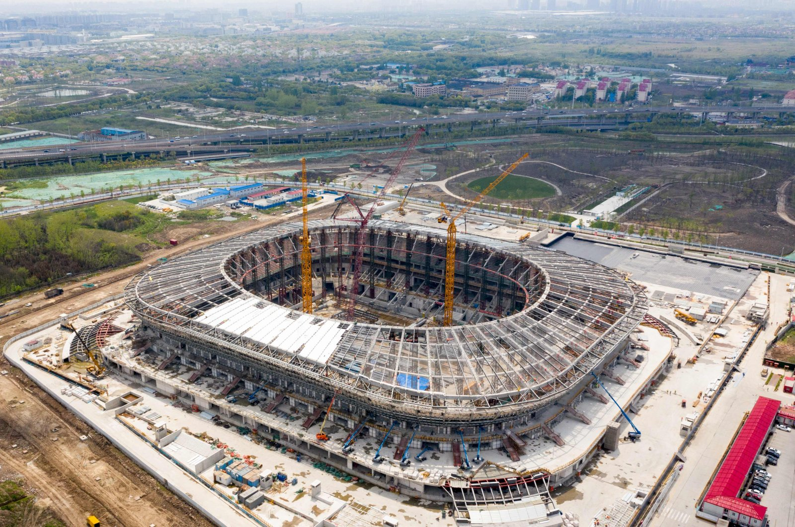 The construction site of Chinese Super League (CSL) side Shanghai SIPG's new stadium in Shanghai, China, April 22, 2020. (AFP Photo)