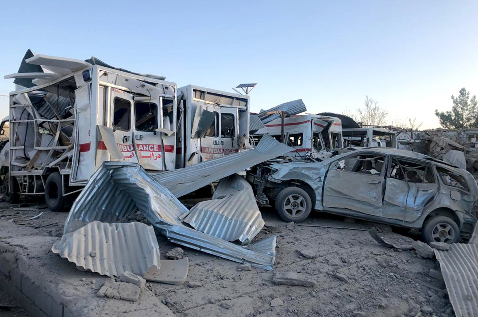 Damaged cars are seen at the site of a suicide attack, Zabul, Sept. 19, 2019. (AP Photo)