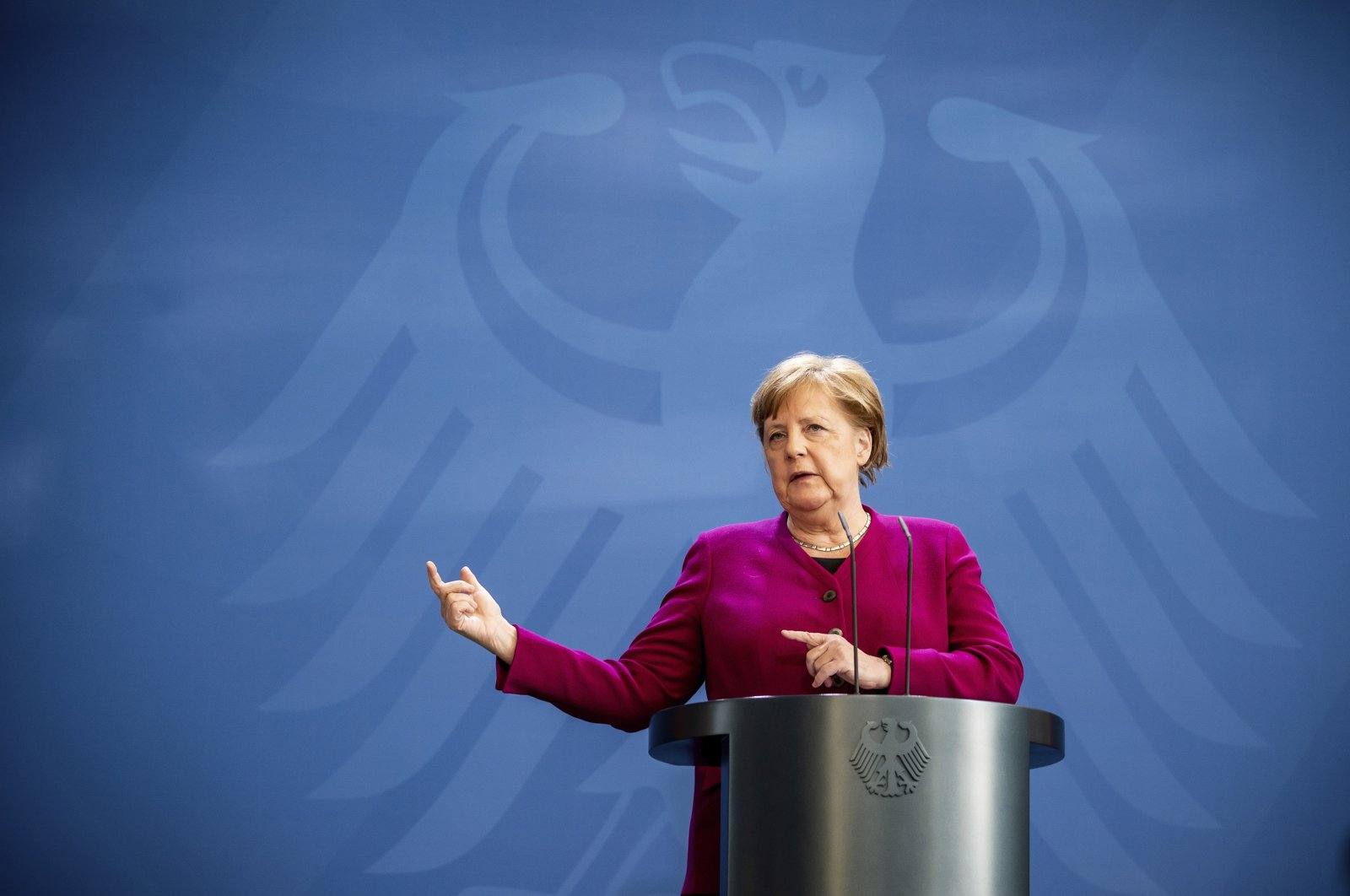 German Chancellor Angela Merkel gives a press conference following the European Council video conference, Berlin, April 23, 2020. (AP Photo)