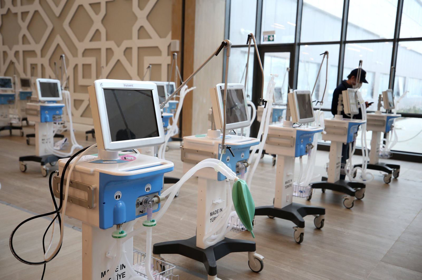 Domestically made ventilators are seen on the sidelines of the inauguration of Başahşehir City Hospital, Istanbul, Turkey, April 20, 2020. (AA Photo)