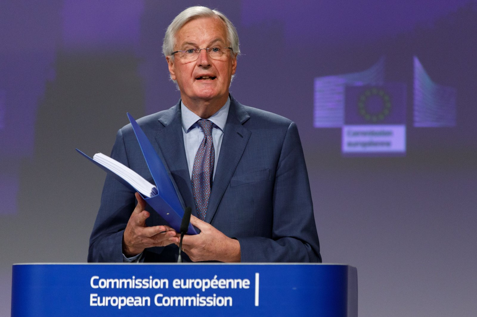 EU Chief Negotiator, Michel Barnier speaks about the trade agreement with the U.K. during a press conference in the European Commission, Brussels, April 24, 2020. (AFP Photo)