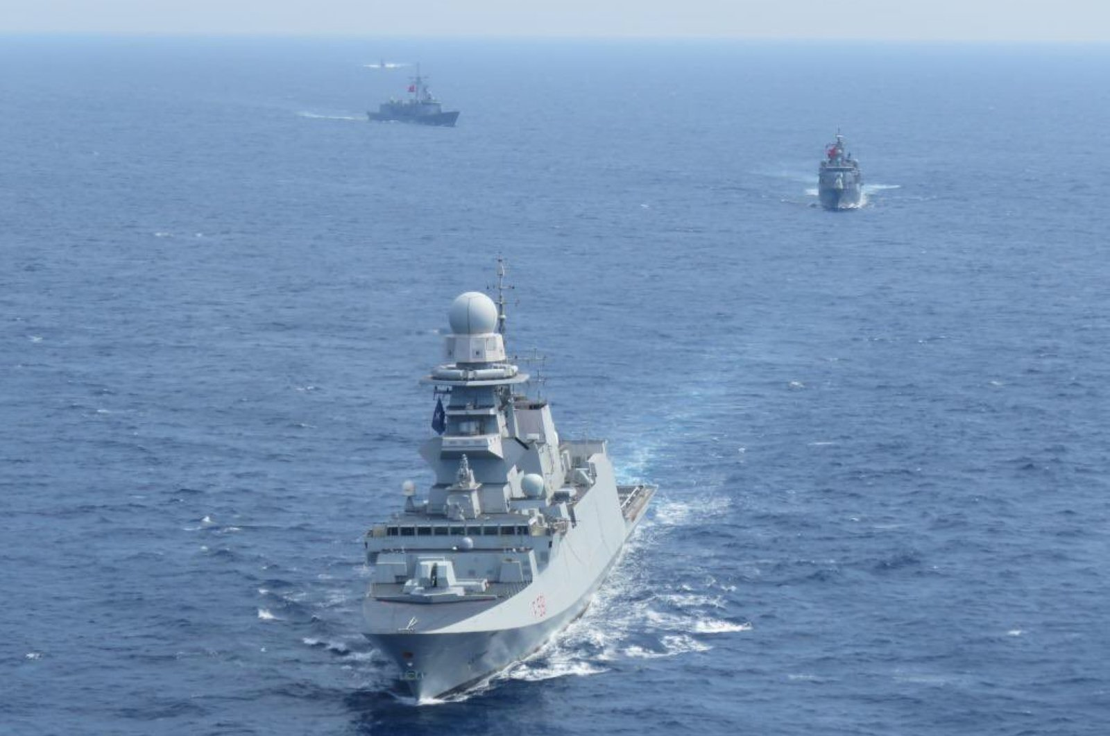 Turkish and Italian frigates take part in a joint drill in Eastern Mediterranean on Friday, April 24, 2020 (AA Photo)