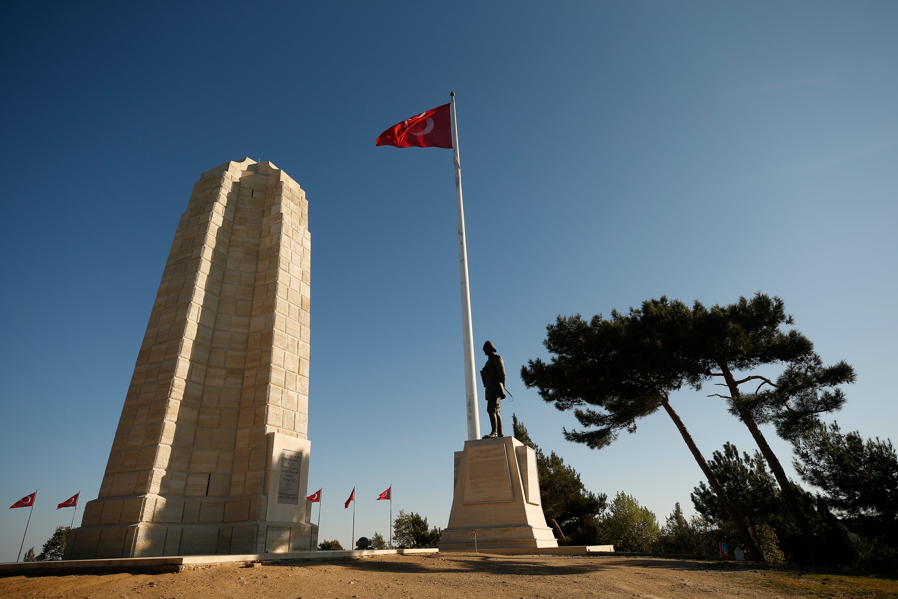 A view of the Chunuk Bair (New Zealand) Memorial, one of four memorials erected to commemorate New Zealand soldiers who died on the Gallipoli peninsula and whose graves are not known, in Çanakkale, Turkey. (AP Photo)
