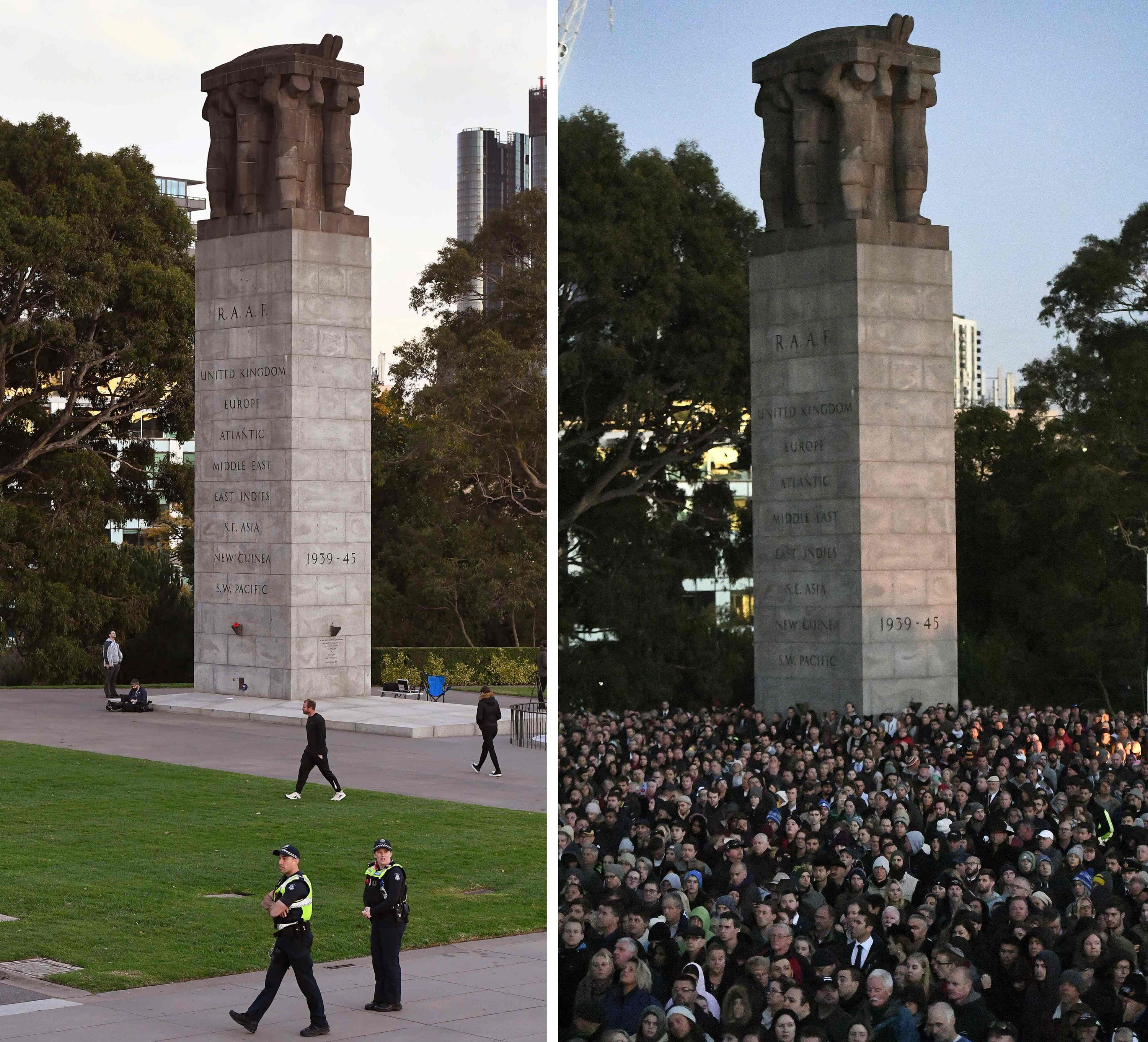 This combination image of two pictures show the few people paying their respects during the Anzac Day dawn service at the Shrine of Remembrance in Melbourne on April 25, 2020 (L), as compared to Anzac Day on April 25, 2019 (R). (AFP Photo)