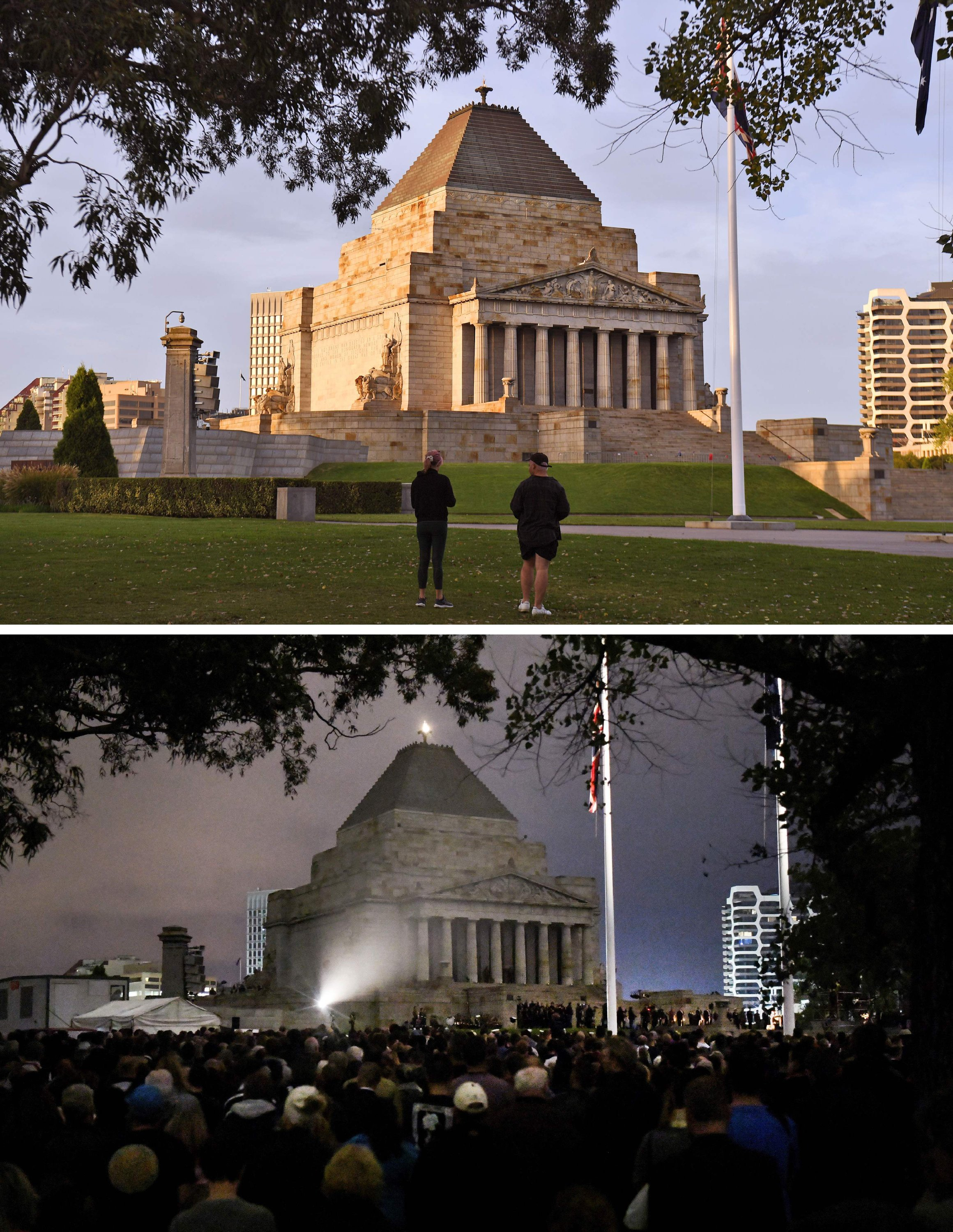 This combination image of two pictures show the few people paying their respects during the Anzac Day dawn service at the Shrine of Remembrance in Melbourne on April 25, 2020 (top), as compared to Anzac Day on April 25, 2018 (bottom). (AFP Photo)