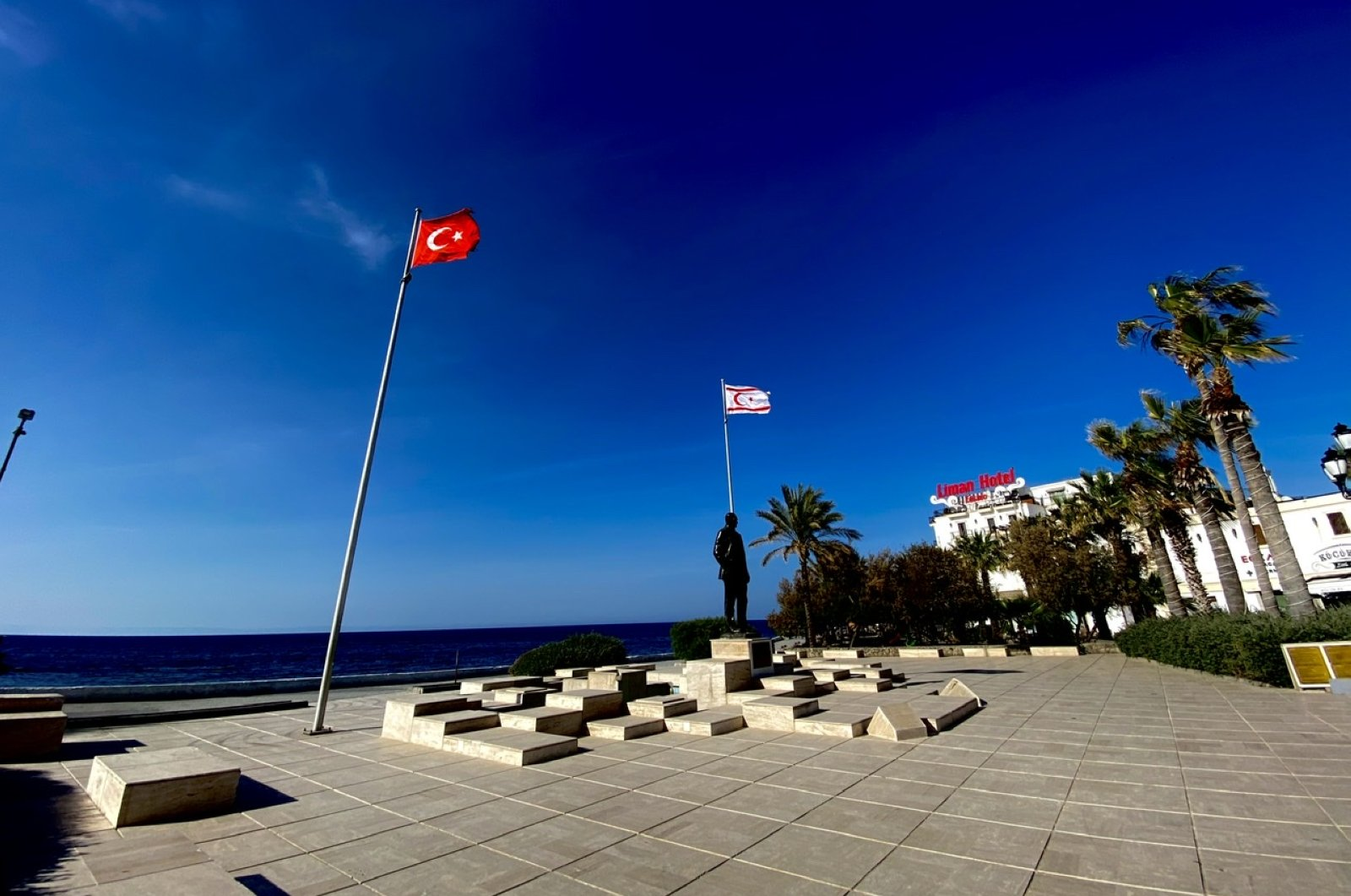 A deserted square, normally bustling with tourists and visitors, is seen in the center of the northern town of Girne, Turkish Republic of Northern Cyprus, April 21, 2020. (DHA Photo)