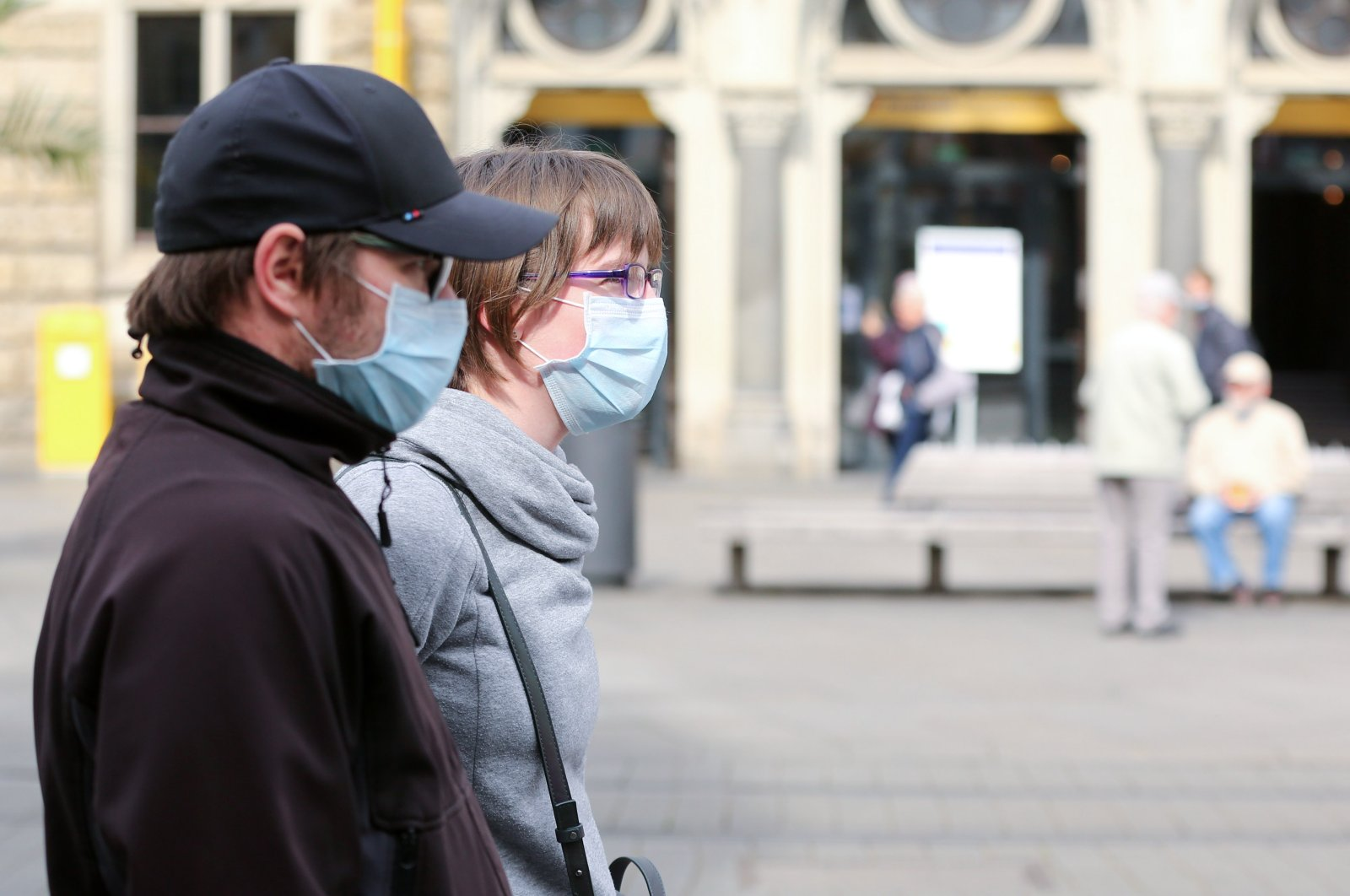 People with protective masks are seen, as the spread of the coronavirus disease (COVID-19) continues in Erfurt, Germany, April 24, 2020. (Reuters Photo)