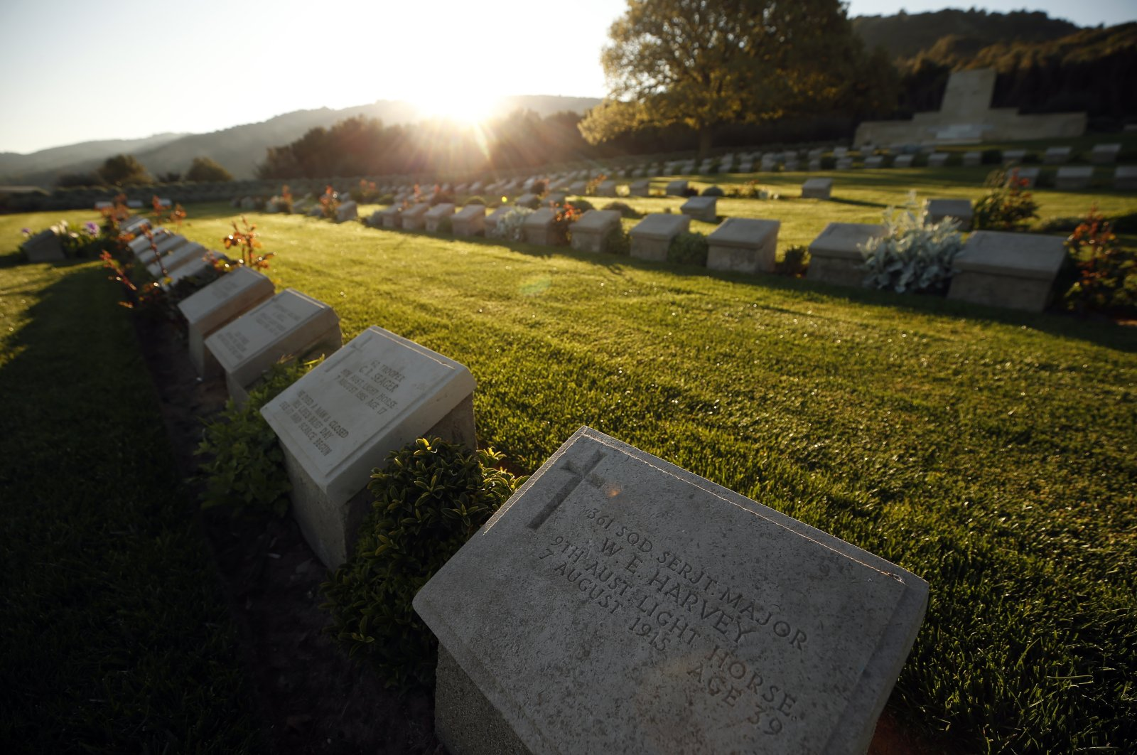 A view of the Anzac Cove cemetery by the site in Gallipoli peninsula of World War I landing of the ANZACs (Australian and New Zealand Army Corps) on April 25, 1915, in Çanakkale, Turkey, Saturday, April 25, 2020. (AP Photo)