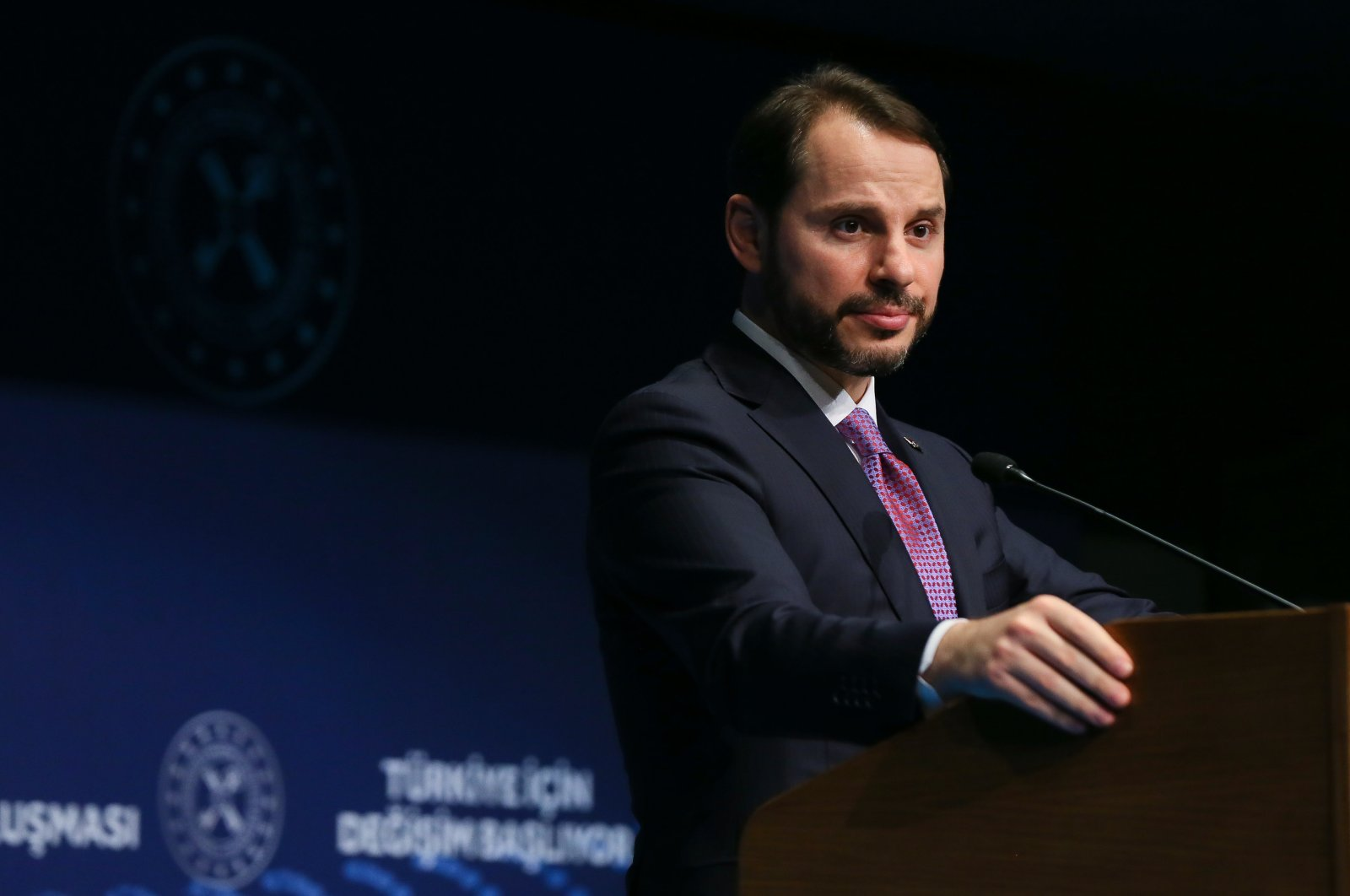 Treasury and Finance Minister Berat Albayrak speaks during a meeting with businesspeople in Turkey's western Uşak province, March 9, 2020. (AA Photo)