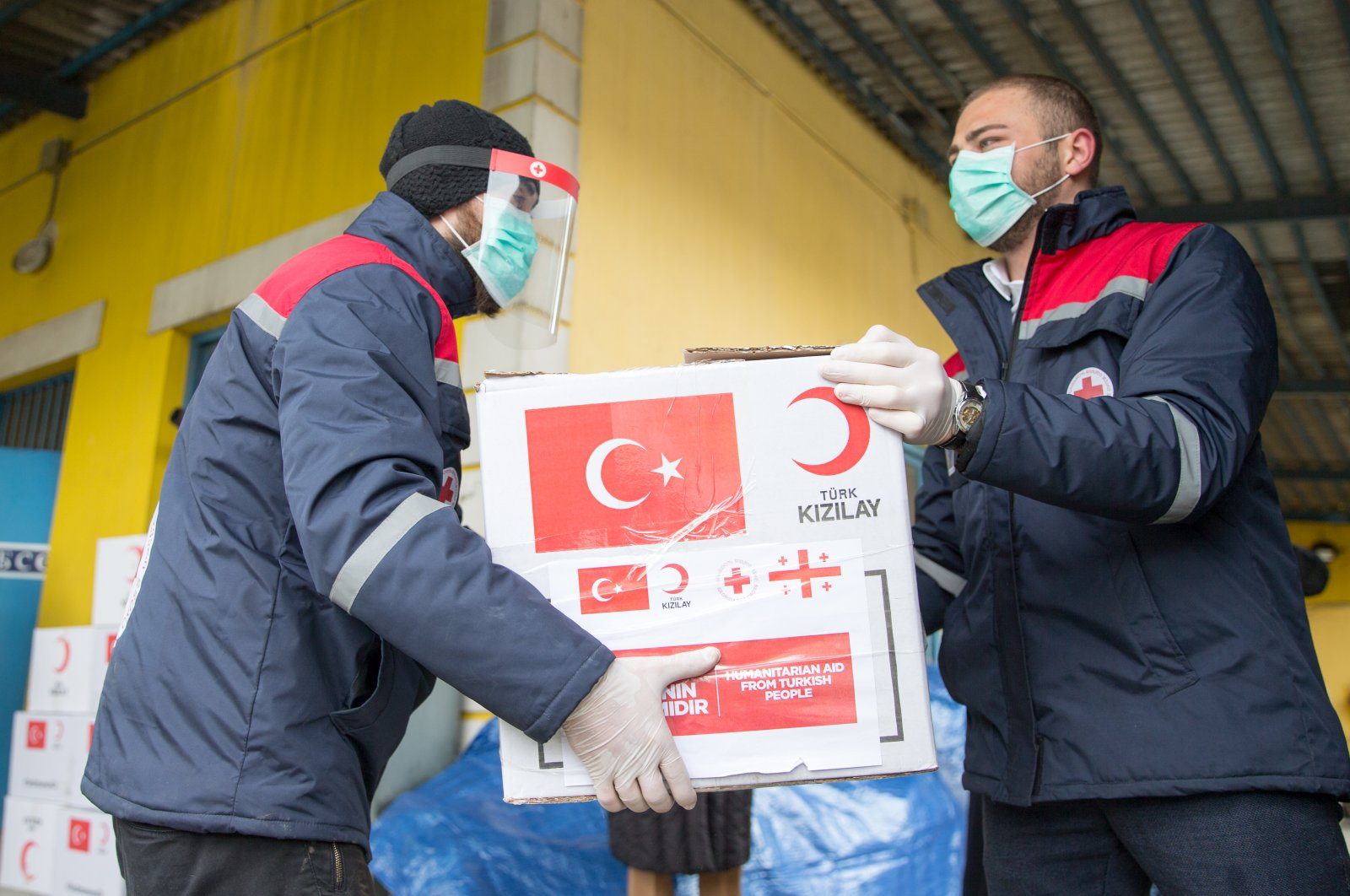 Turkey Red Crescent's aid packages are delivered to Tblisi, April 25, 2020. (AA Photo)