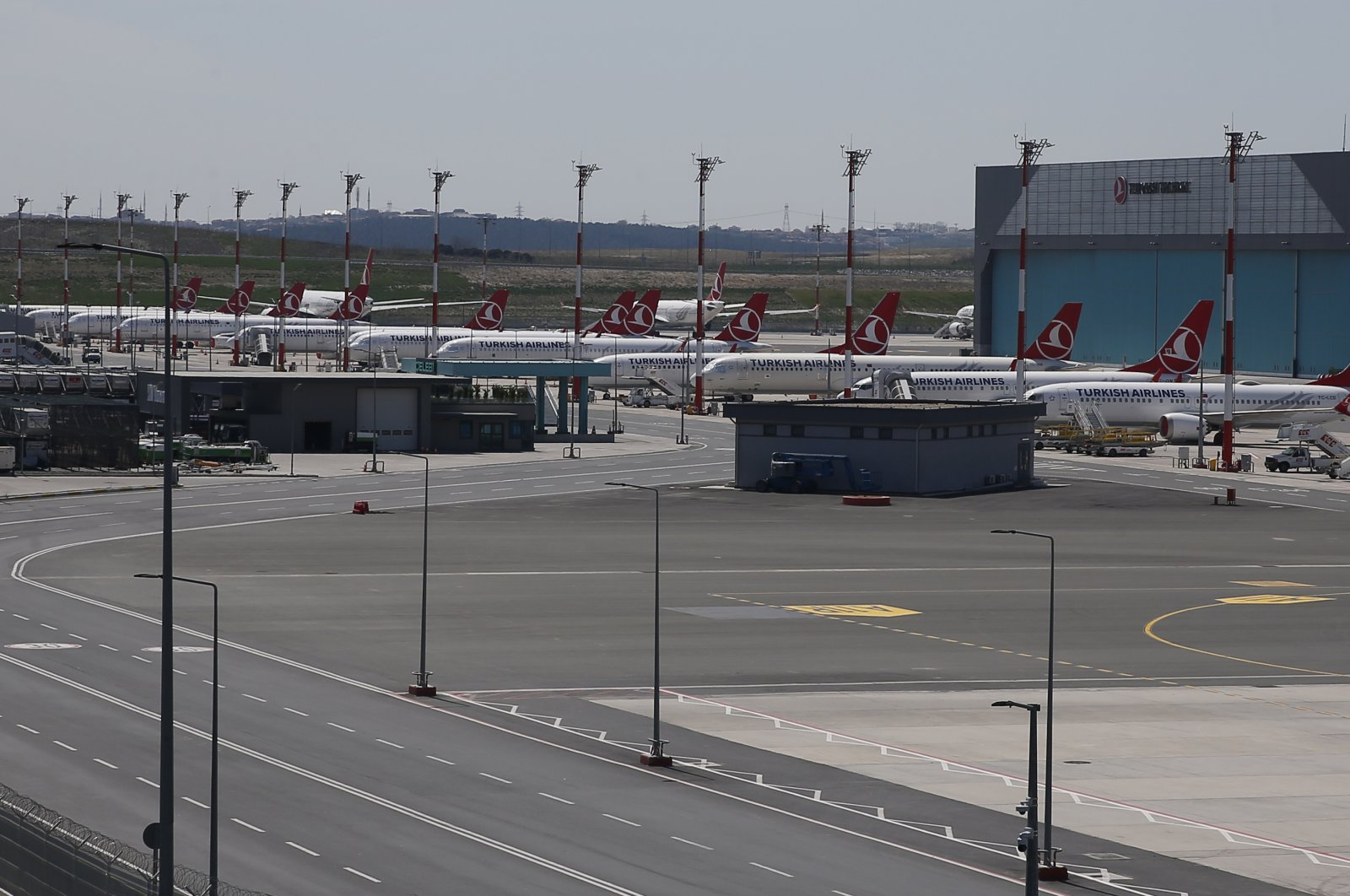 Turkish Airlines aircraft parked at Istanbul Airport, Sunday, April 19, 2020. (AP Photo)