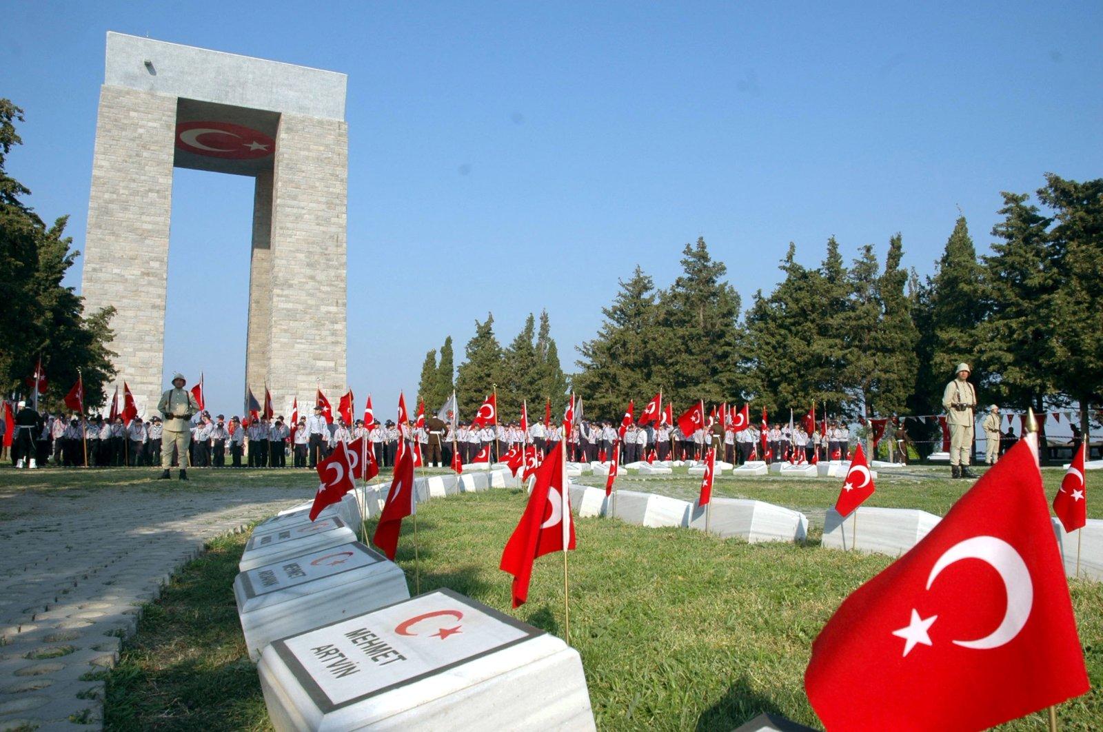 Gallipoli War Memorial in Çanakkale, Turkey in this undated file photo (AA Photo)