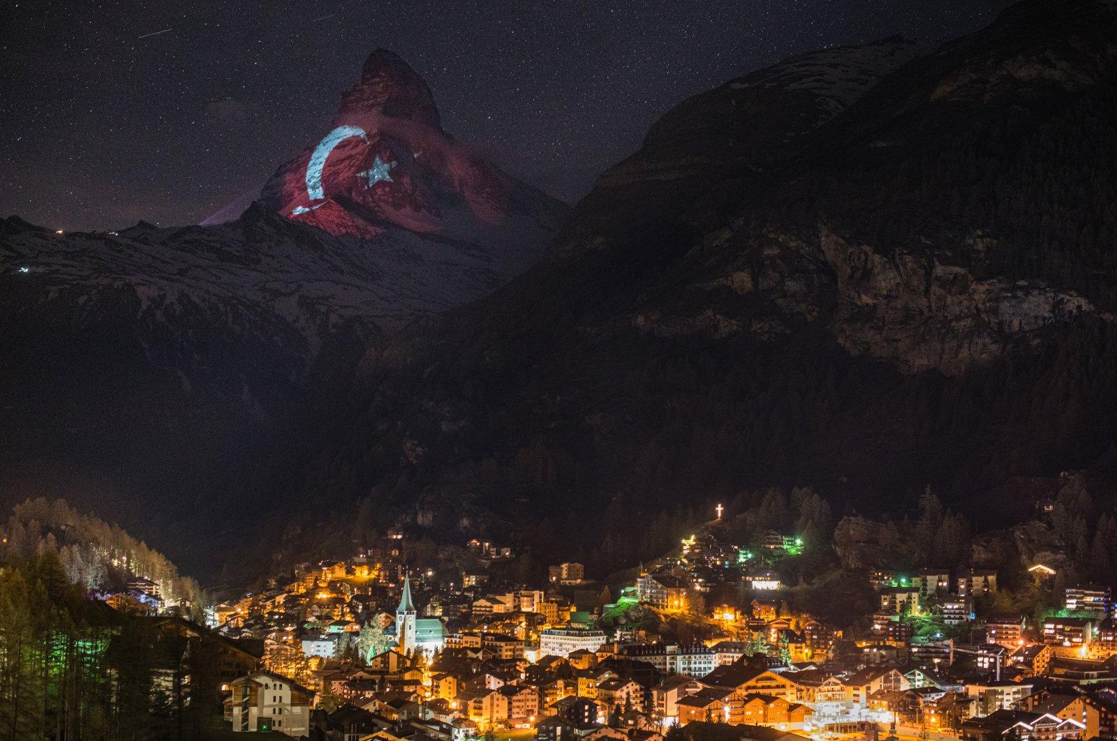 Matterhorn mountain illuminated with the Turkish flag, April 25, 2020. (AA Photo)