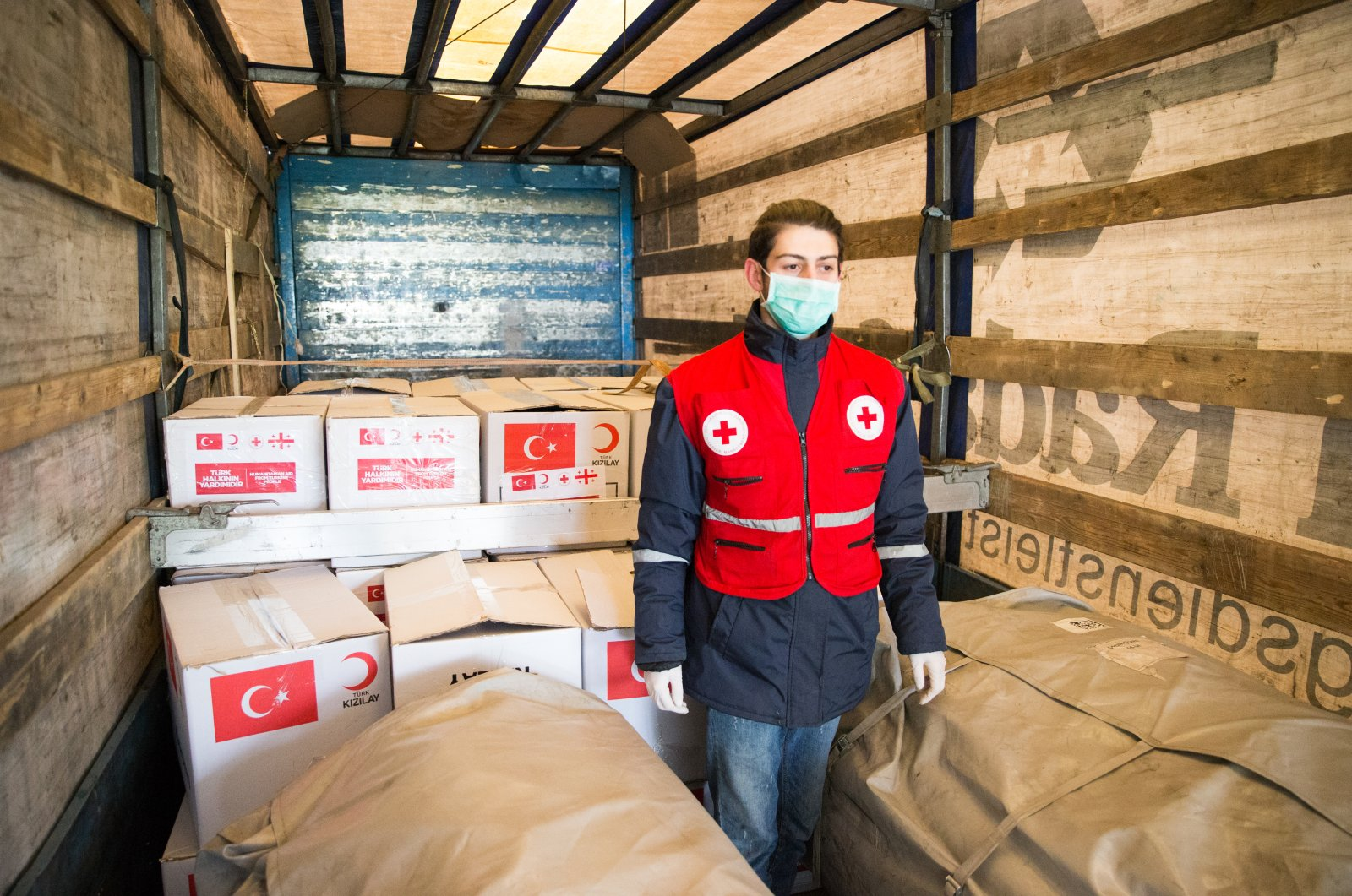 Turkish Red Crescent delivers medical aid to Georgia to support the country's fight with COVID-19, April 25, 2020. (AA Photo)